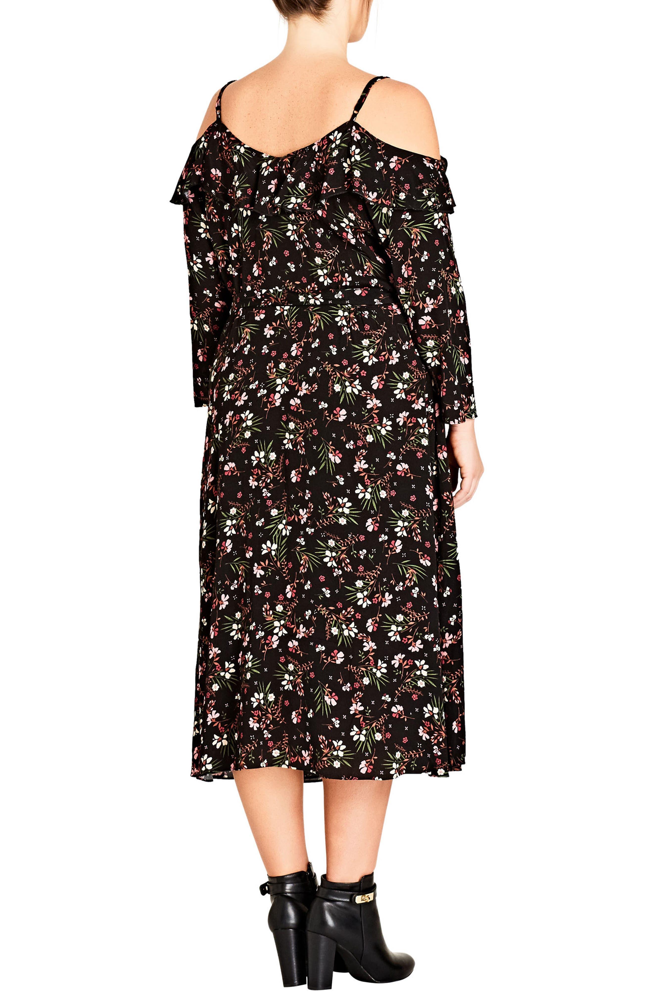 Pretty Floral Cold Shoulder Wrap Dress,                             Alternate thumbnail 2, color,                             PRETTY FLORAL
