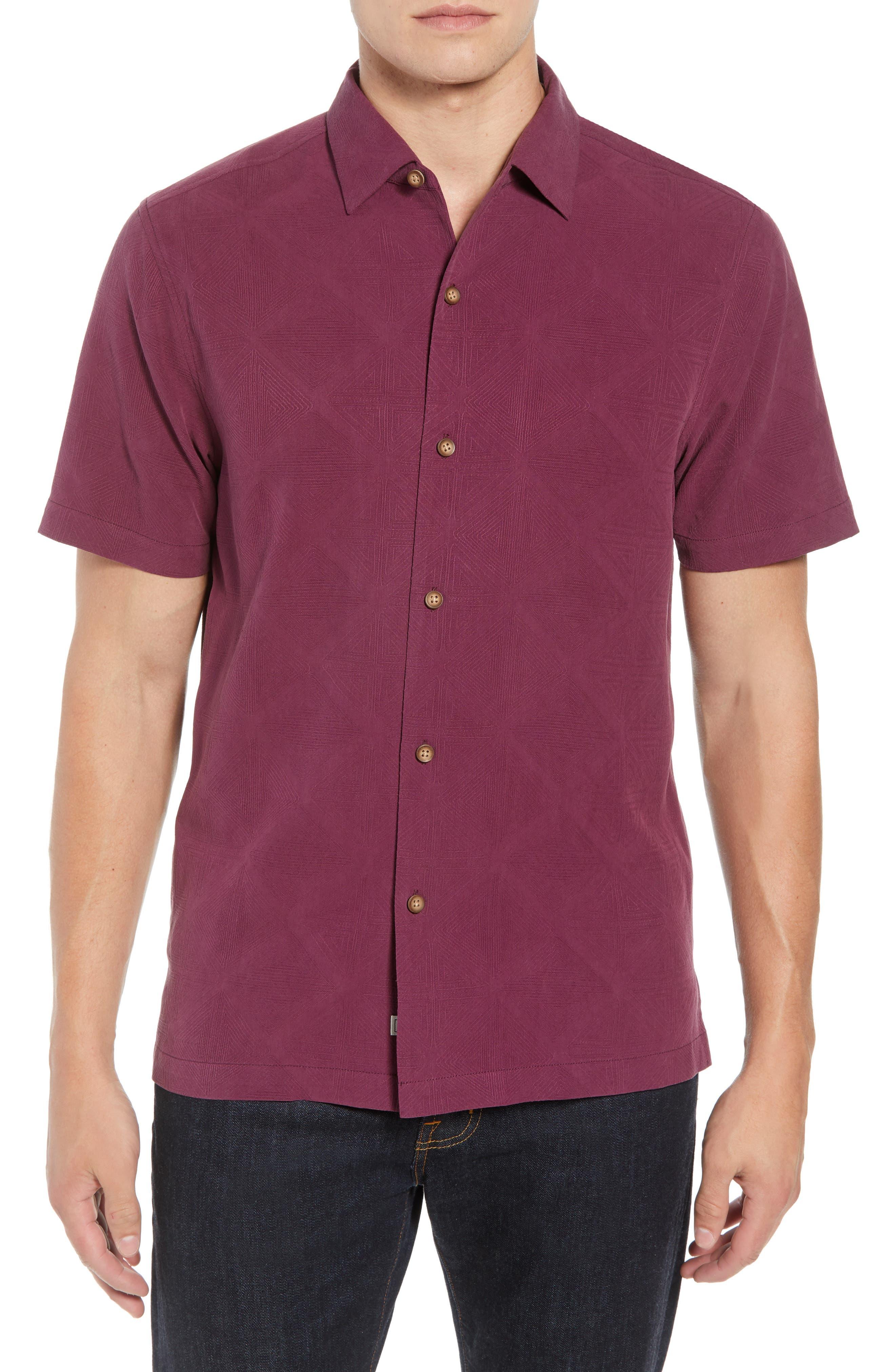 Pura Vino Embroidered Silk Sport Shirt,                         Main,                         color, GRAPE WINE