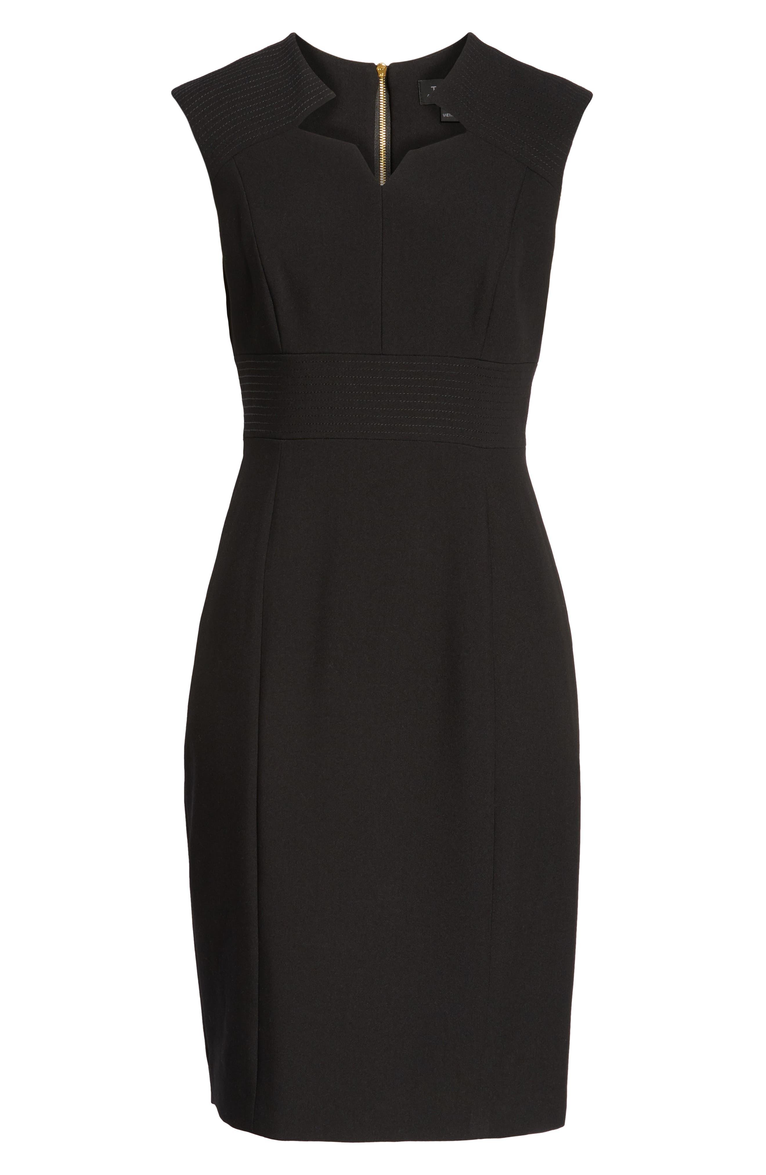 TAHARI,                             Star Neckline Crepe Sheath Dress,                             Alternate thumbnail 7, color,                             BLACK