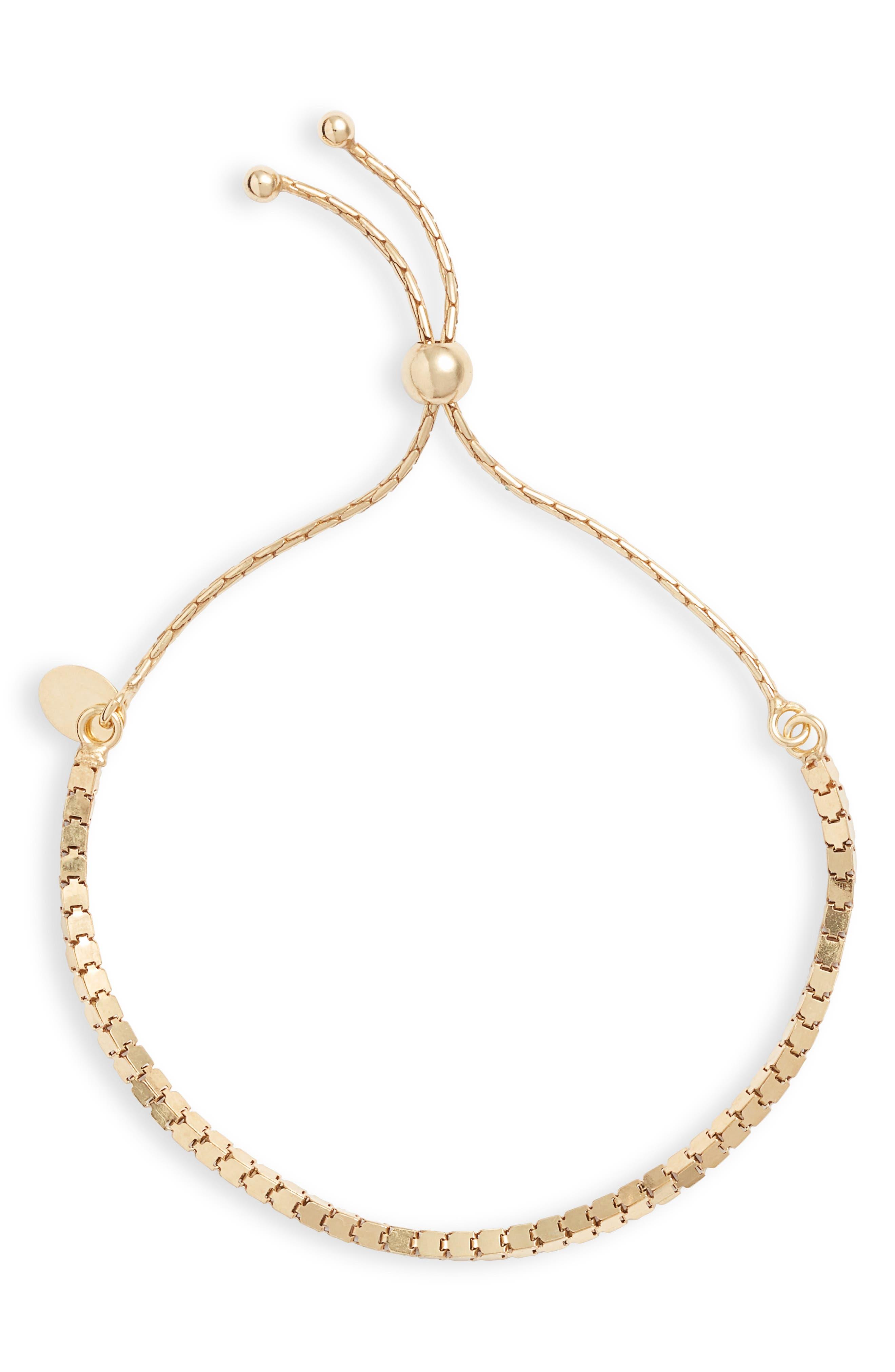 Box Chain Adjustable Slider Bracelet,                             Main thumbnail 1, color,                             GOLD