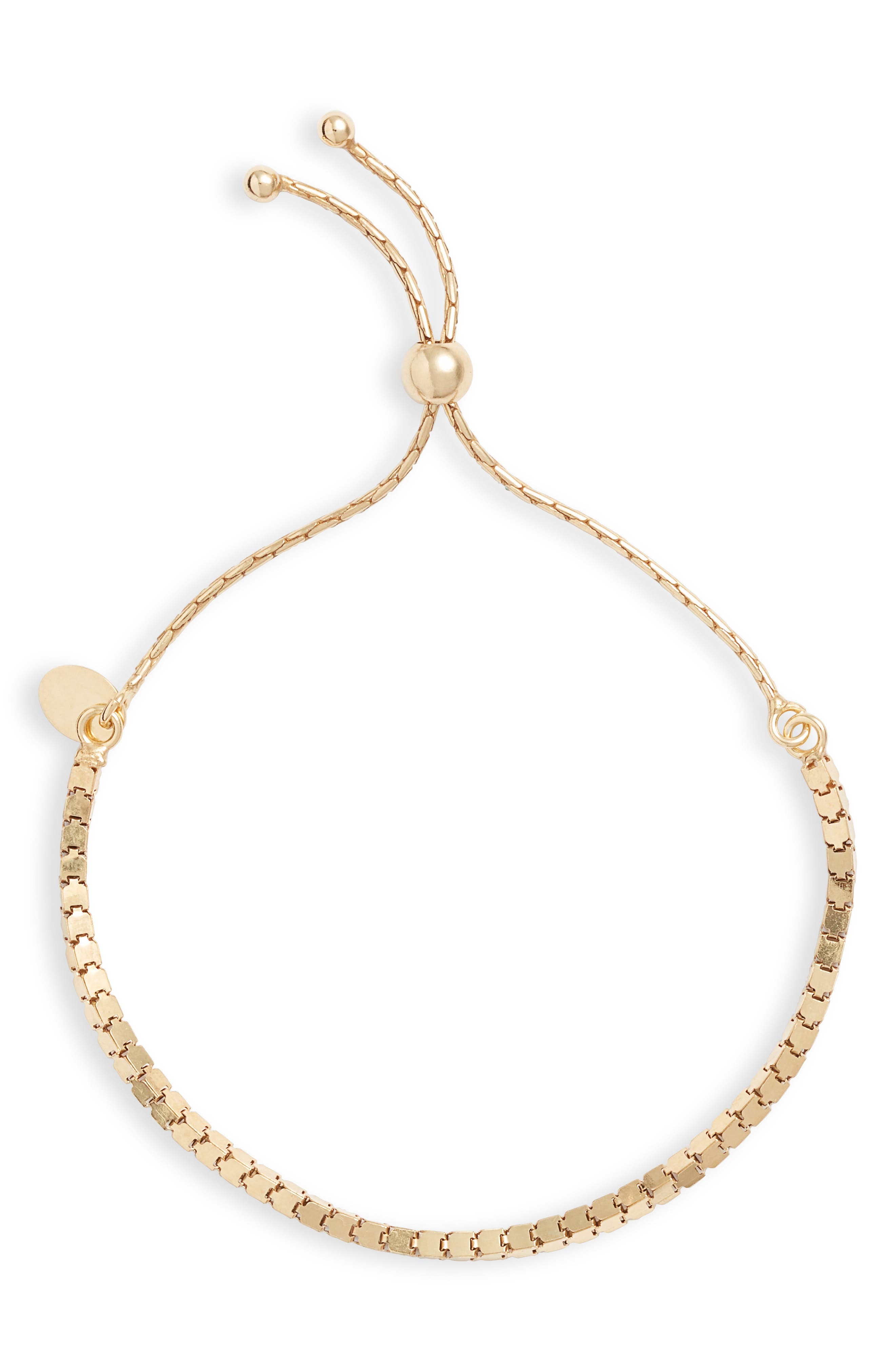 Box Chain Adjustable Slider Bracelet, Main, color, GOLD