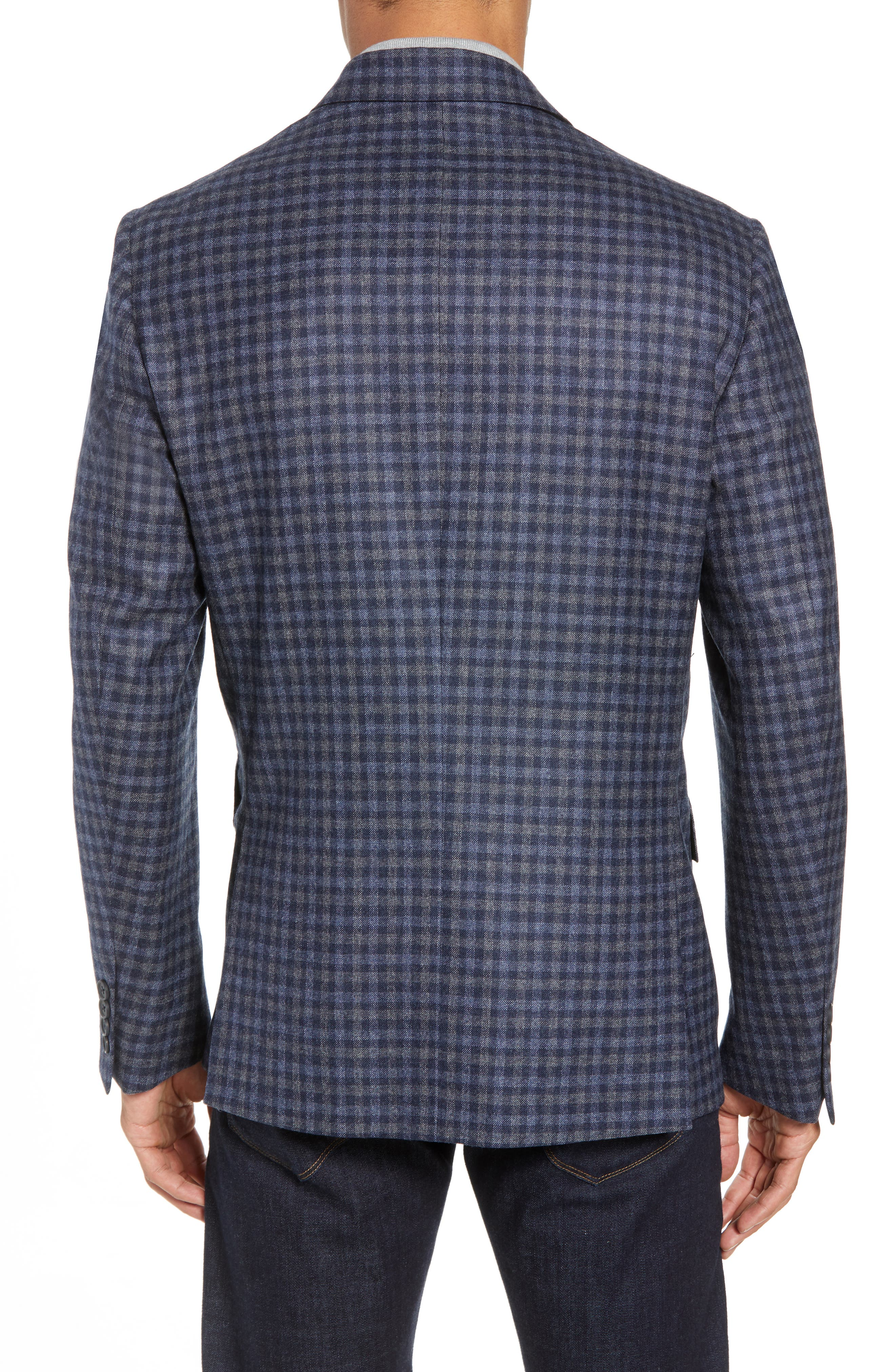 Traditional Fit Check Wool Sport Coat,                             Alternate thumbnail 2, color,                             DENIM BLUE