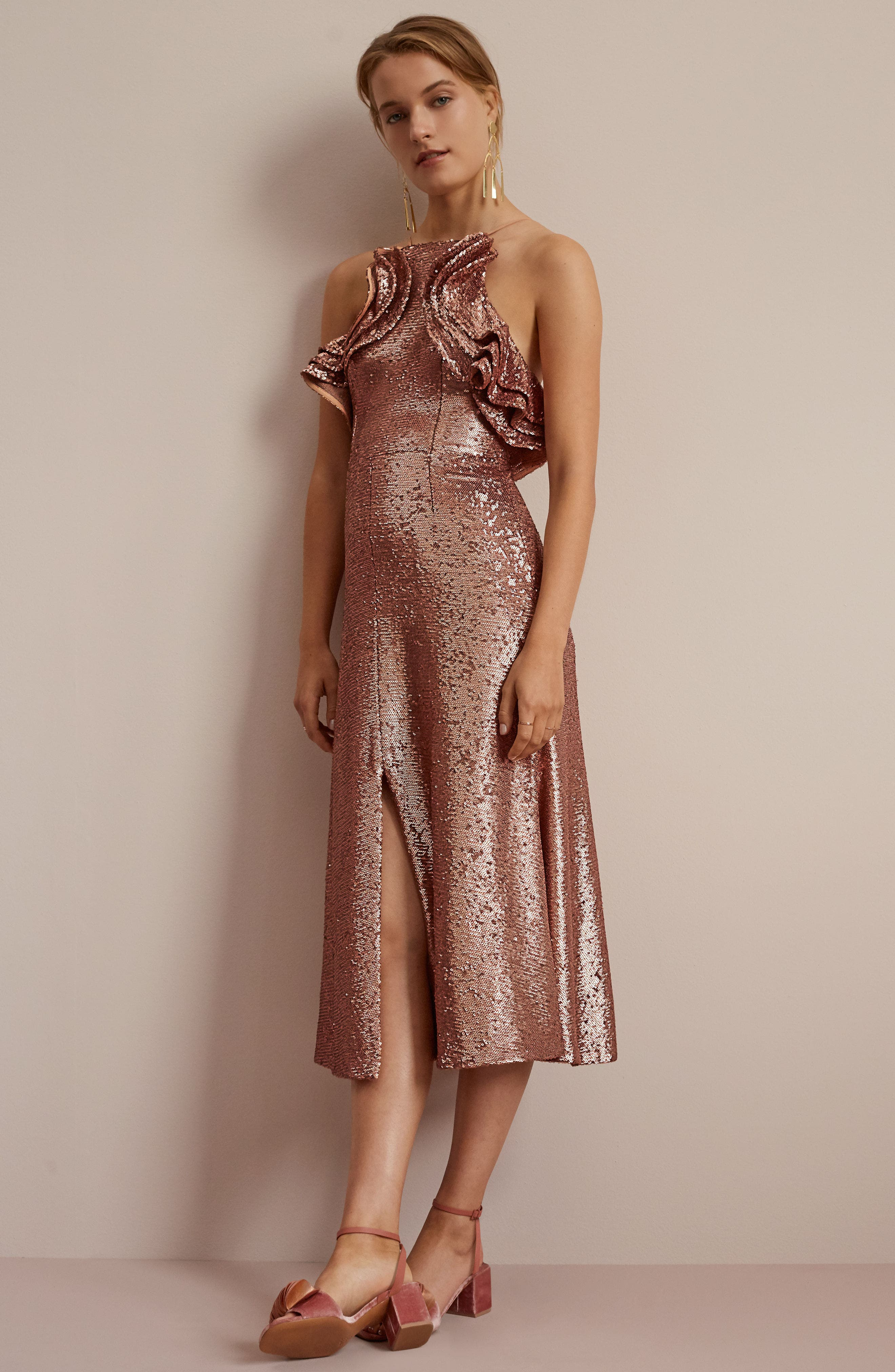 Illuminated Sequin Ruffle Midi Dress,                             Alternate thumbnail 8, color,                             001
