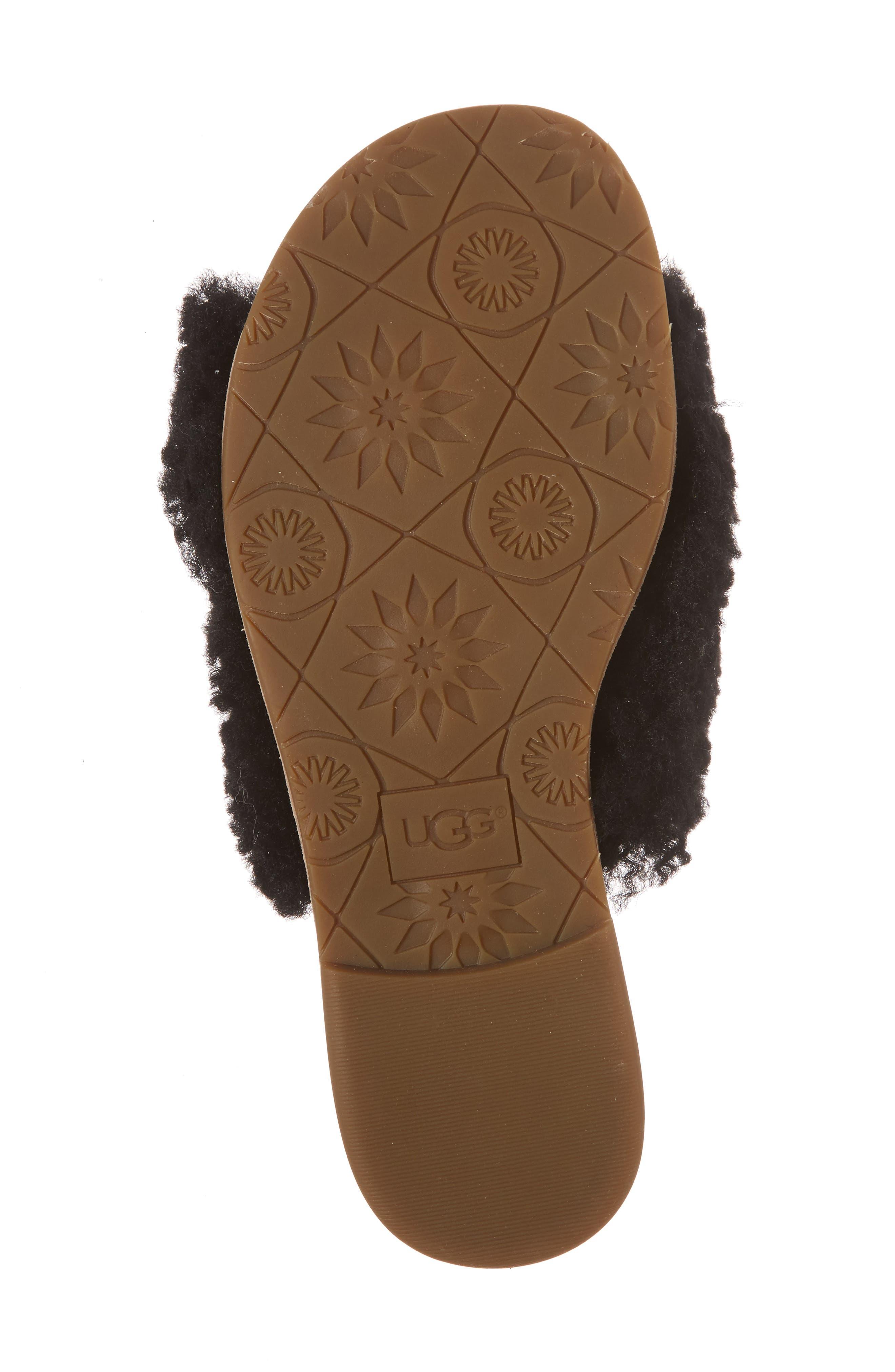 Joni Genuine Shearling Slide Sandal,                             Alternate thumbnail 6, color,                             BLACK