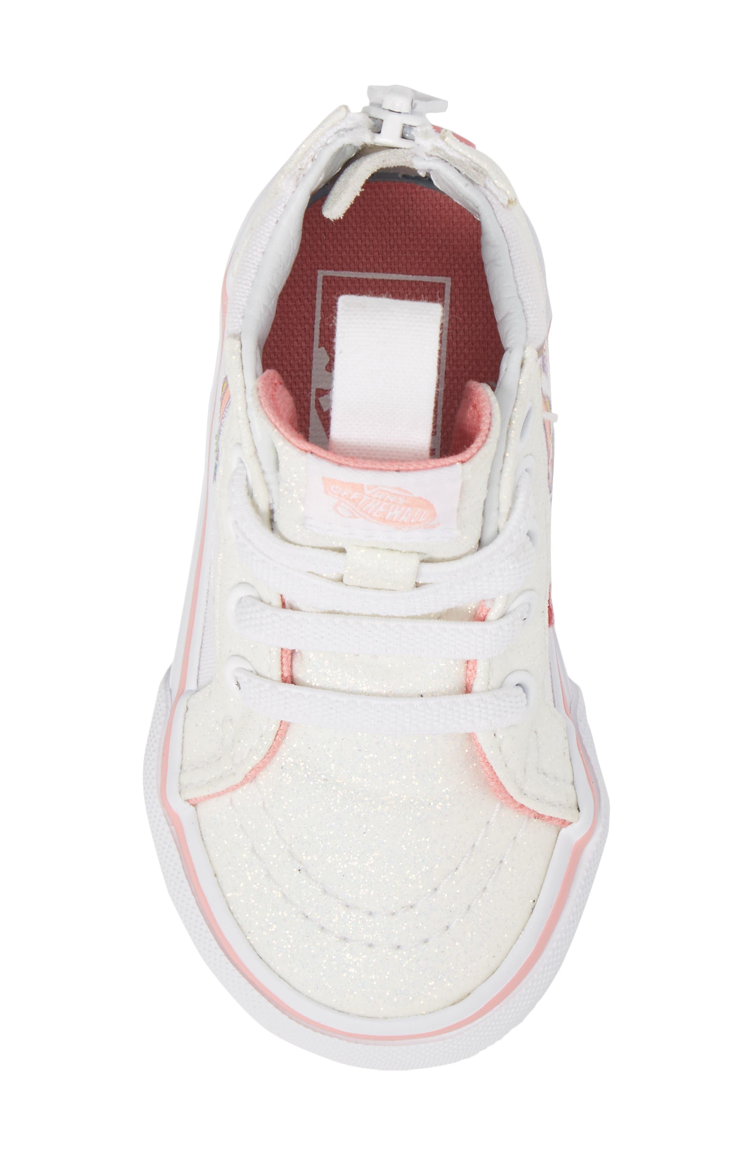 SK8-Hi Zip Glitter Unicorn Sneaker,                             Alternate thumbnail 5, color,