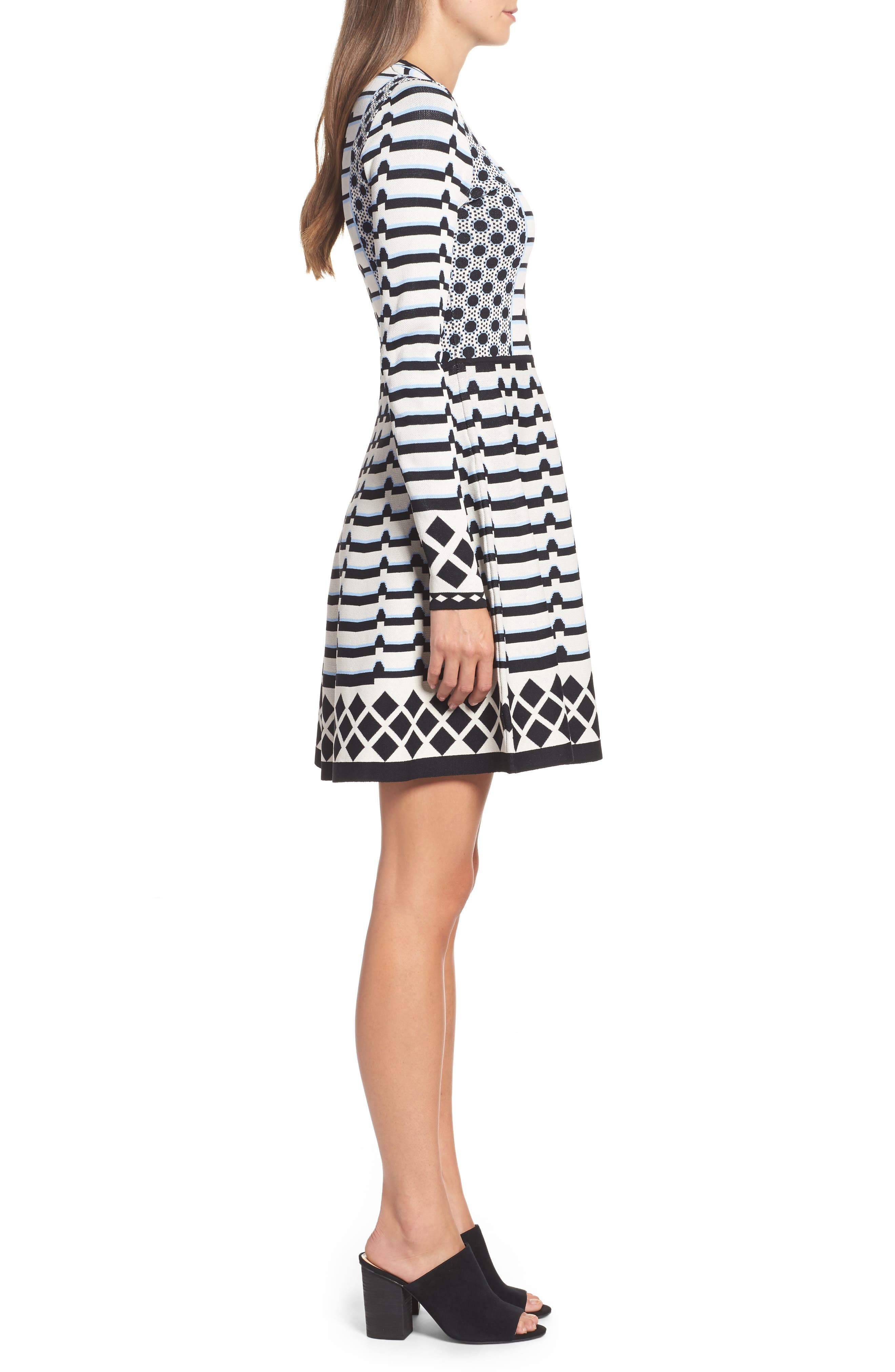 Stripe Knit Fit & Flare Dress,                             Alternate thumbnail 3, color,                             302