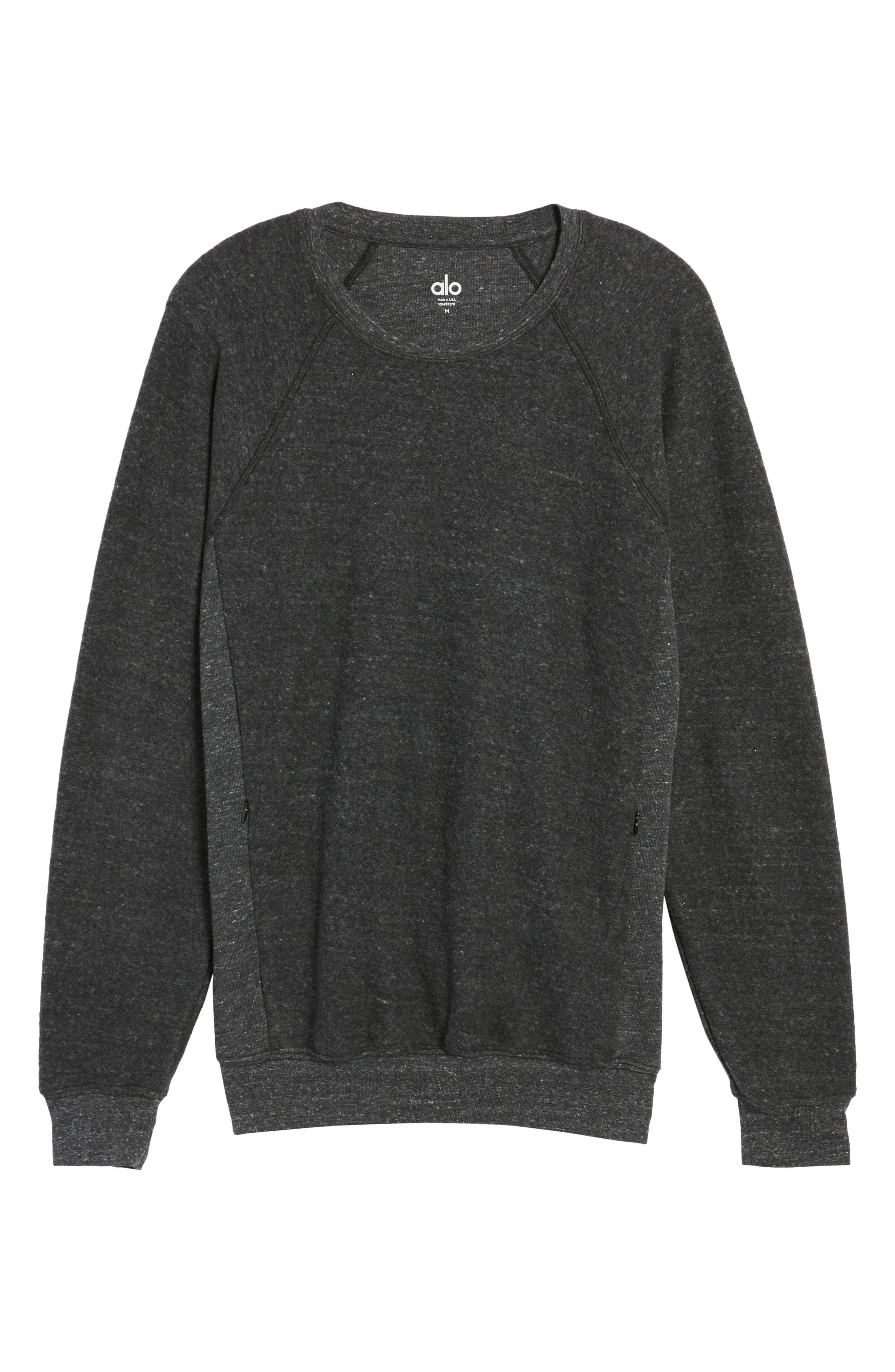 Relaxed Fit Felted Sweatshirt,                             Alternate thumbnail 6, color,                             CHARCOAL BLACK TRIBLEND