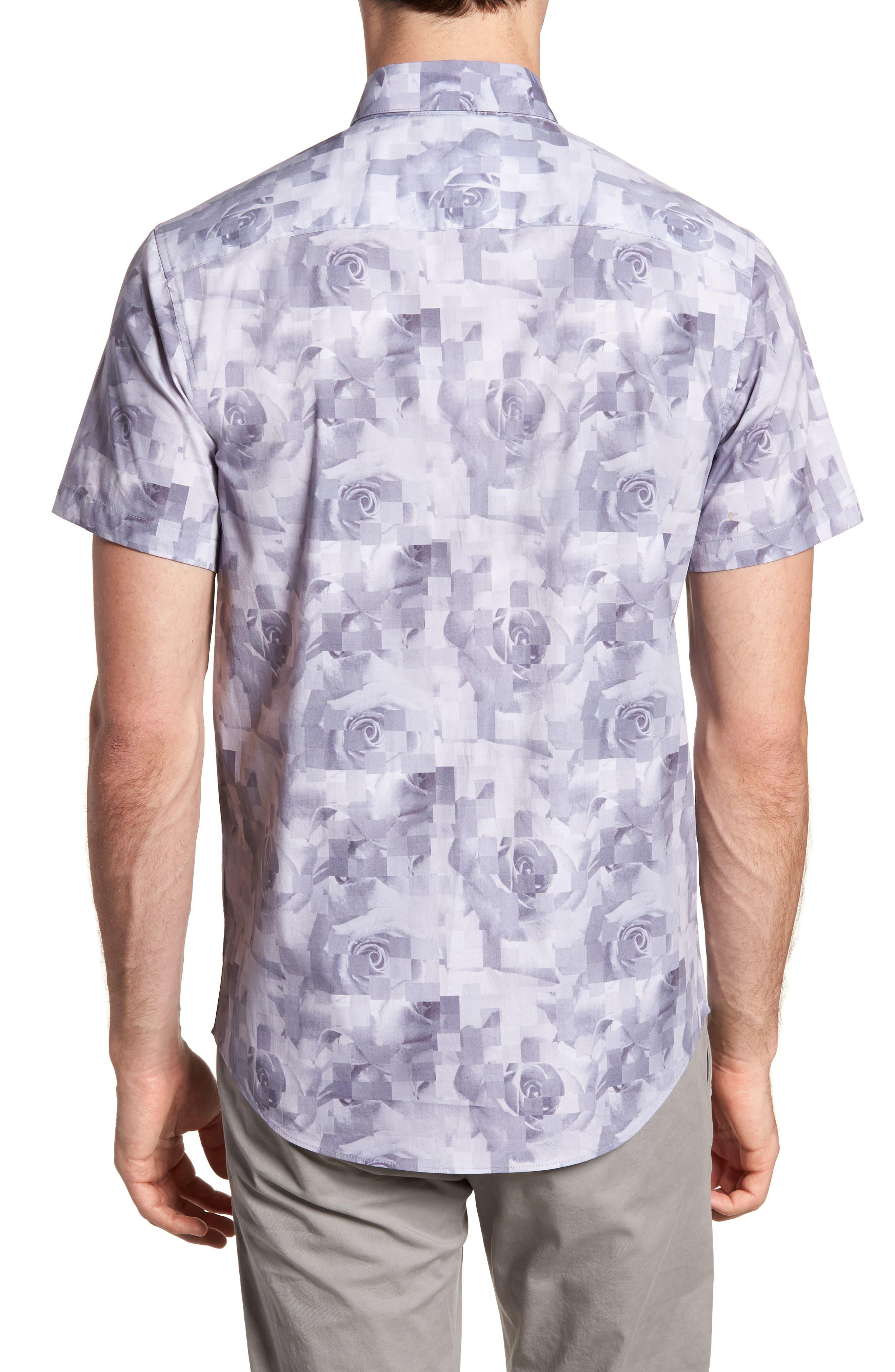 Trim Fit Rose Print Sport Shirt,                             Alternate thumbnail 2, color,                             PINK SILVER ROSE PRINT