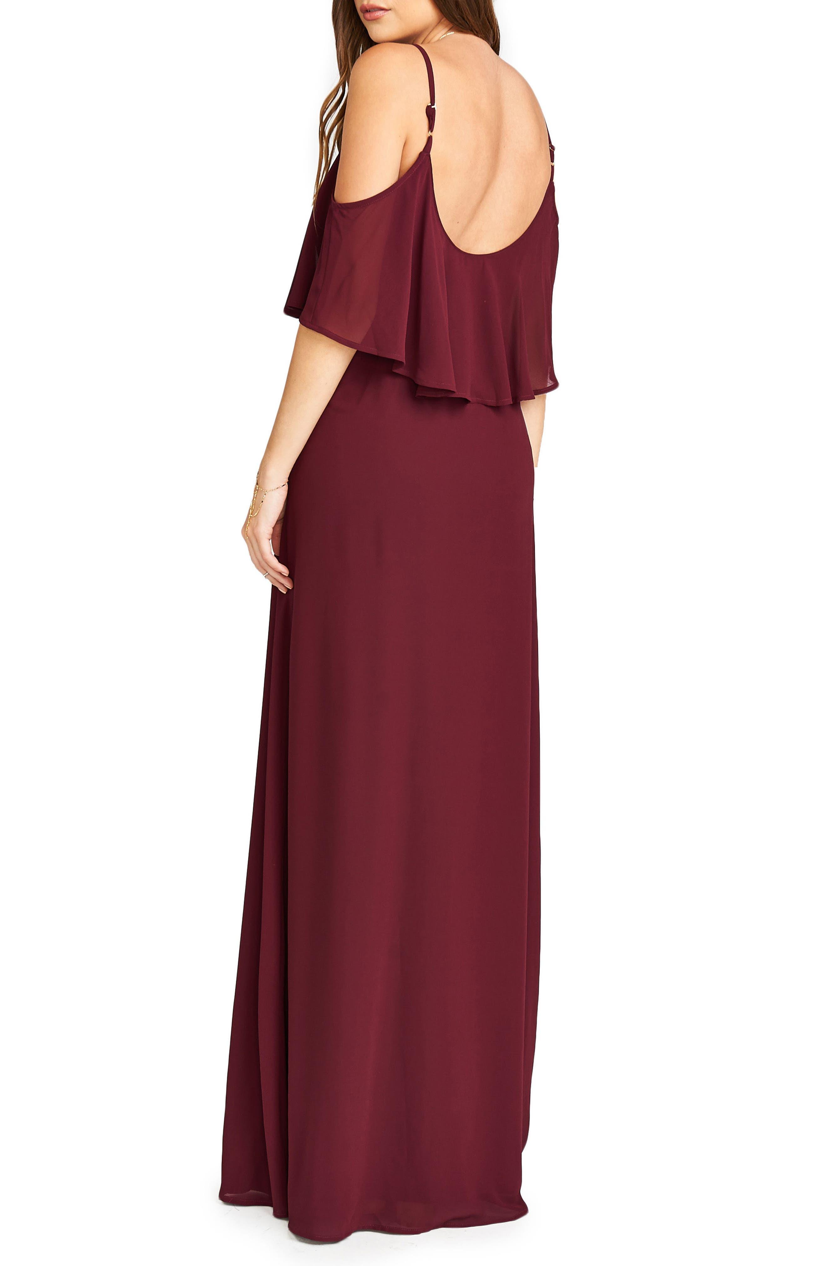 Caitlin Cold Shoulder Chiffon Gown,                             Alternate thumbnail 50, color,