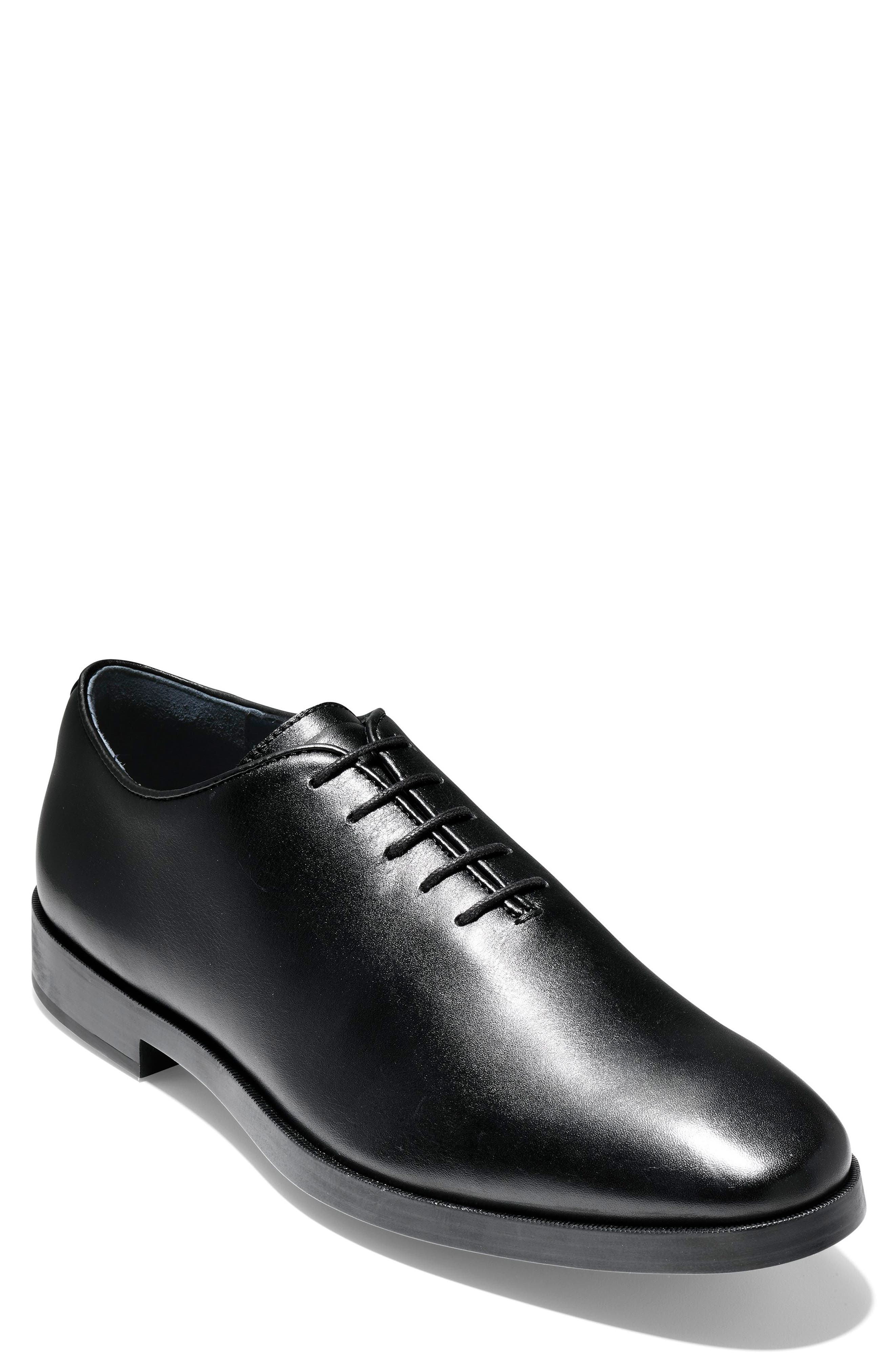 Jefferson Waterproof Wholecut Oxford,                             Main thumbnail 1, color,                             BLACK LEATHER