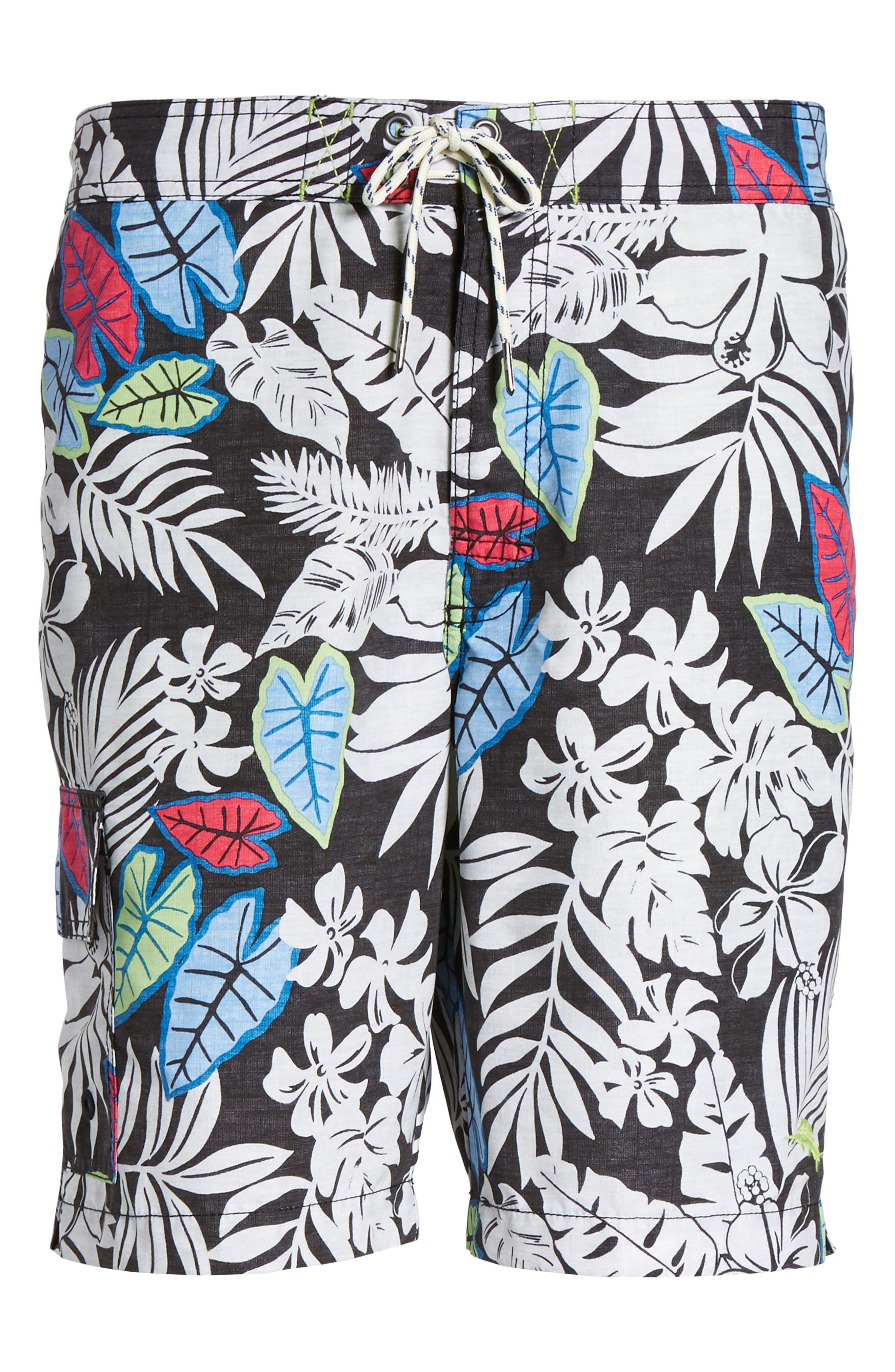 Baja Luau Leaves Board Shorts,                             Alternate thumbnail 6, color,                             001