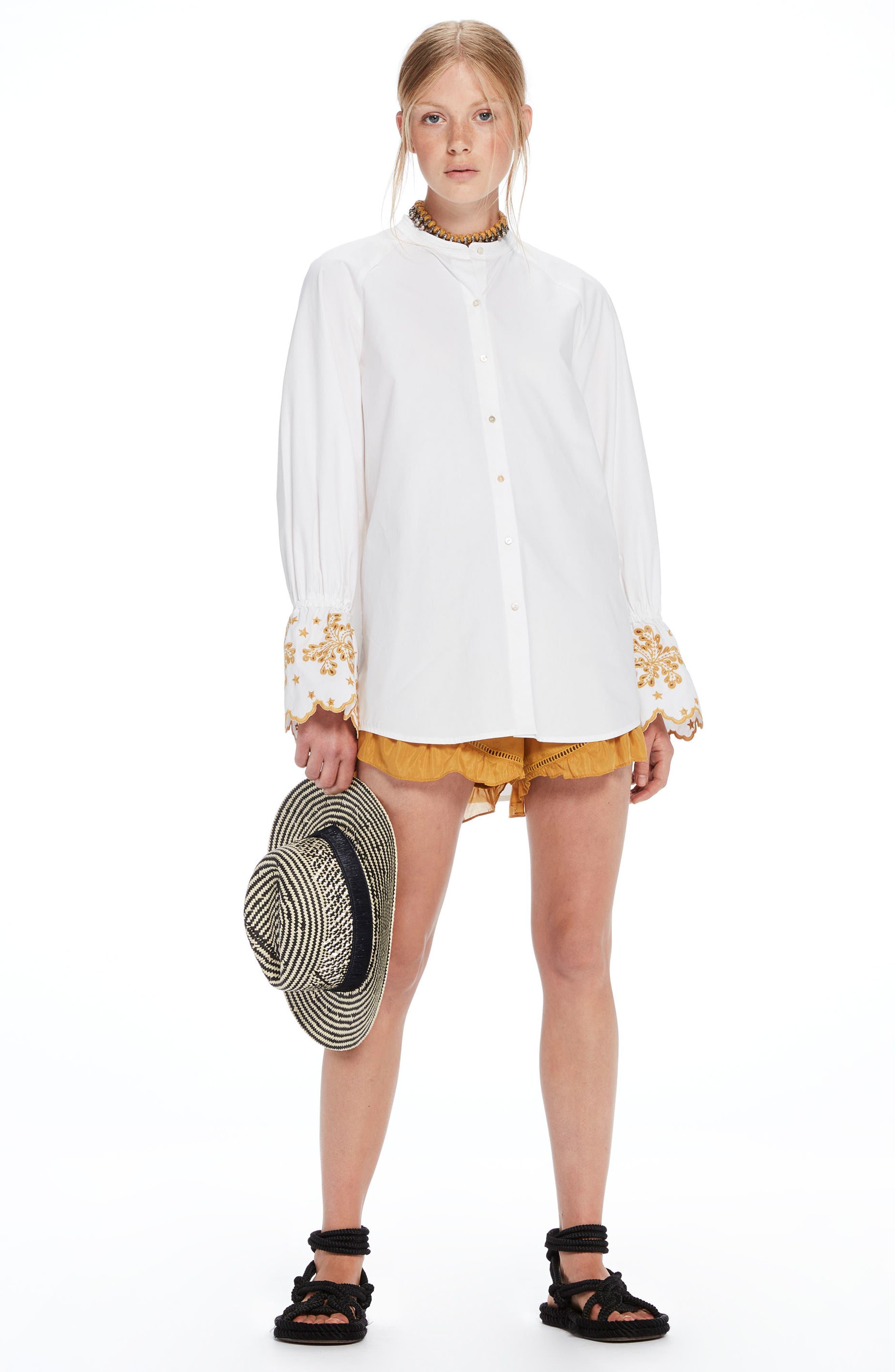Oversize Button Front Shirt,                             Alternate thumbnail 9, color,                             100