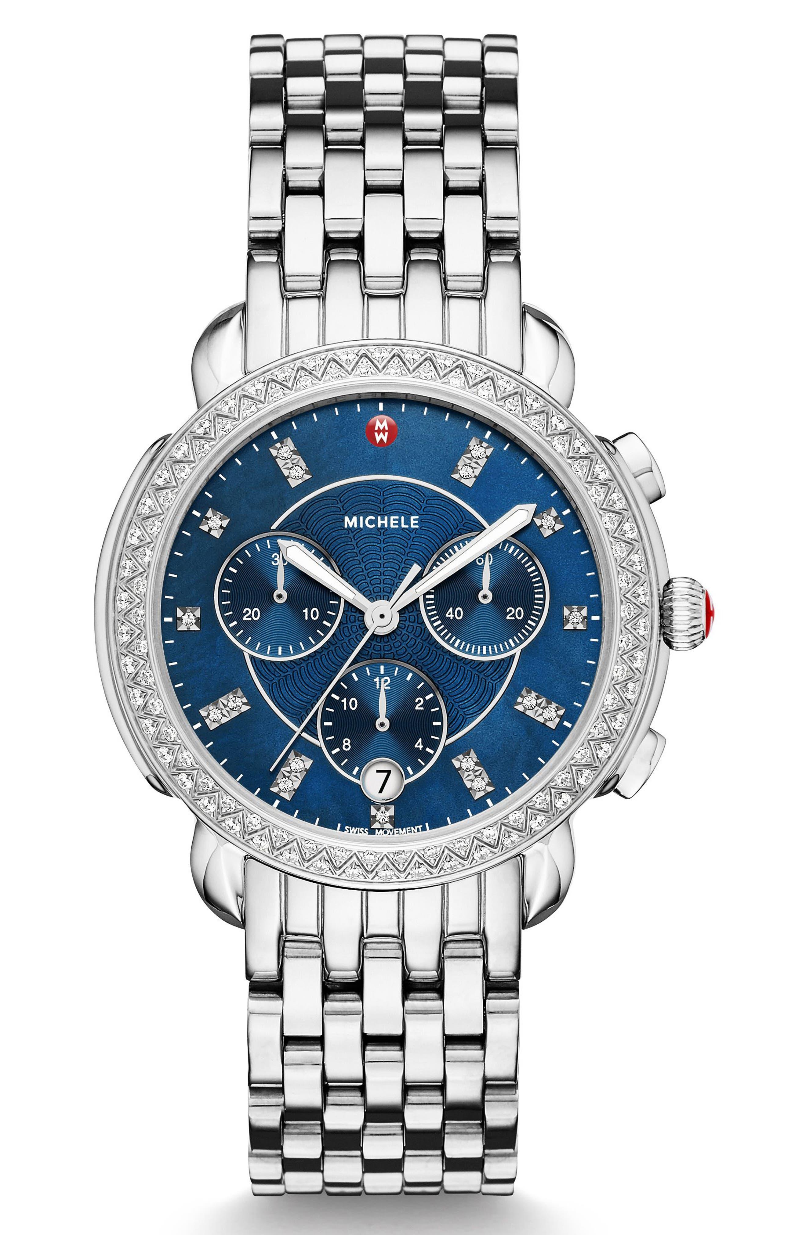 Sidney Chrono Diamond Diamond Dial Watch Case, 38mm,                             Alternate thumbnail 3, color,                             SILVER/ NAVY