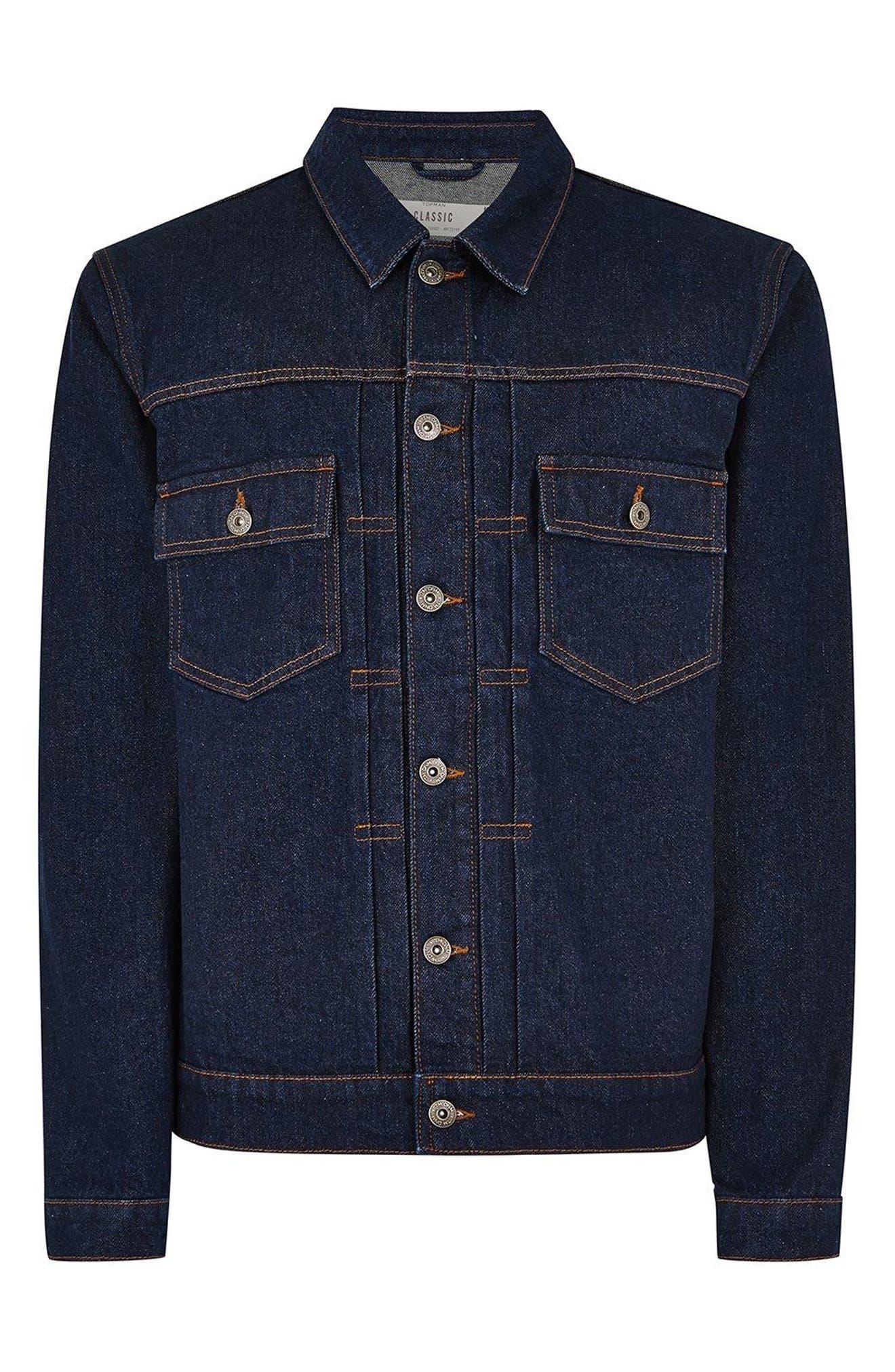 Raw Denim Jacket,                             Alternate thumbnail 6, color,                             DARK BLUE