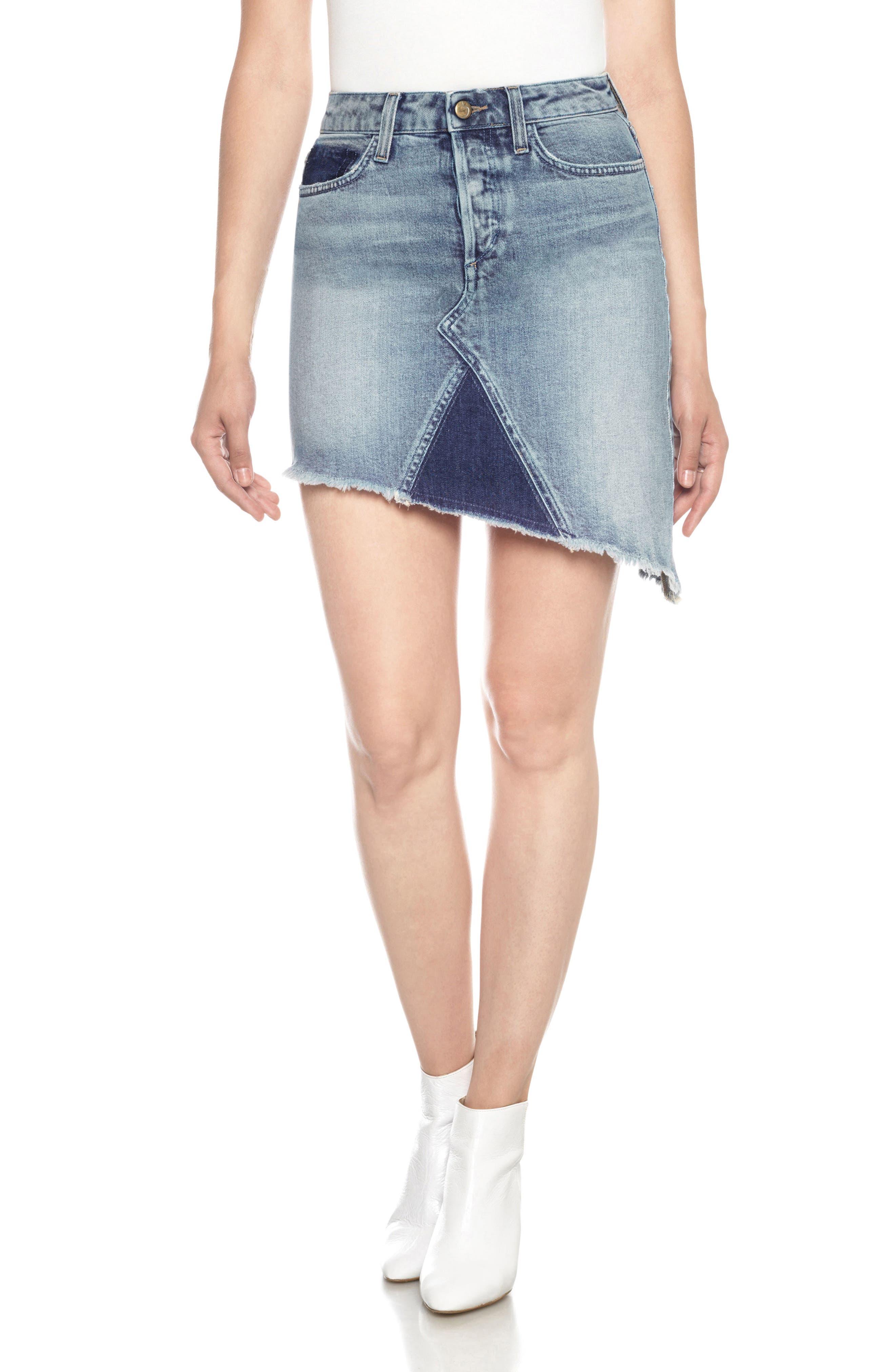 Asymmetrical Denim Skirt,                             Main thumbnail 1, color,