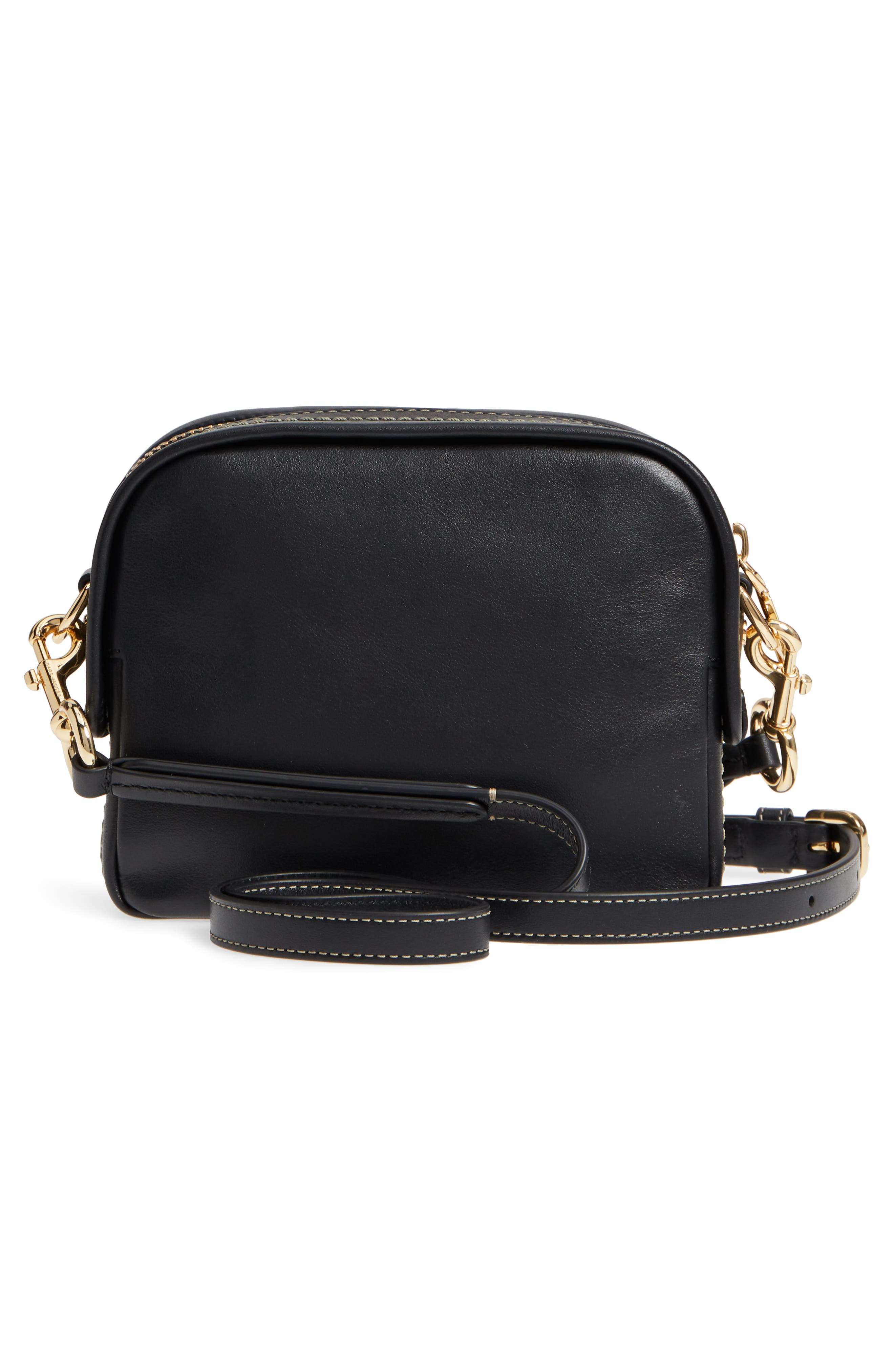 The Mini Squeeze Leather Crossbody Bag,                             Alternate thumbnail 3, color,                             BLACK