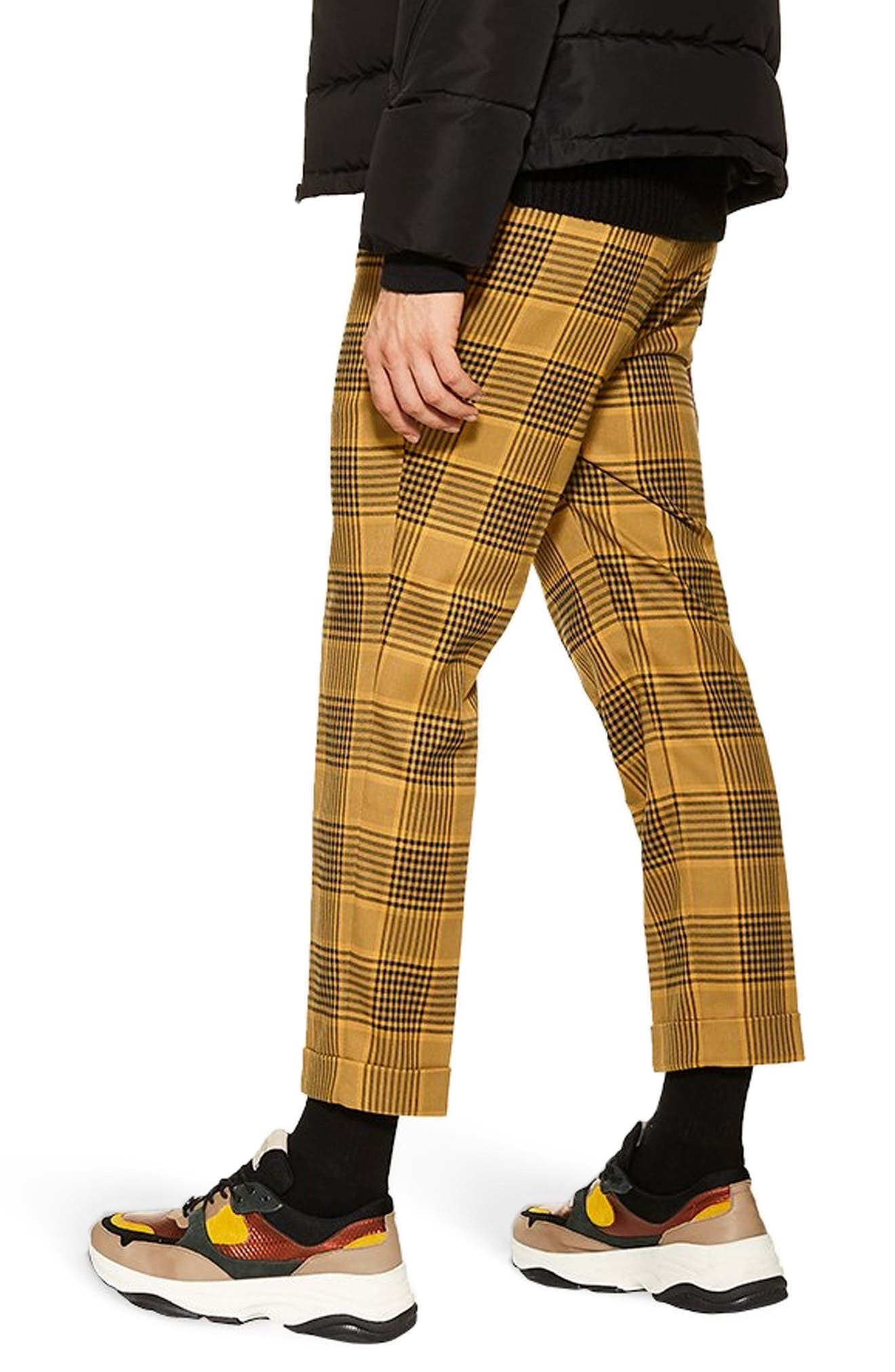 Plaid Relaxed Crop Trousers,                             Alternate thumbnail 2, color,                             YELLOW MULTI