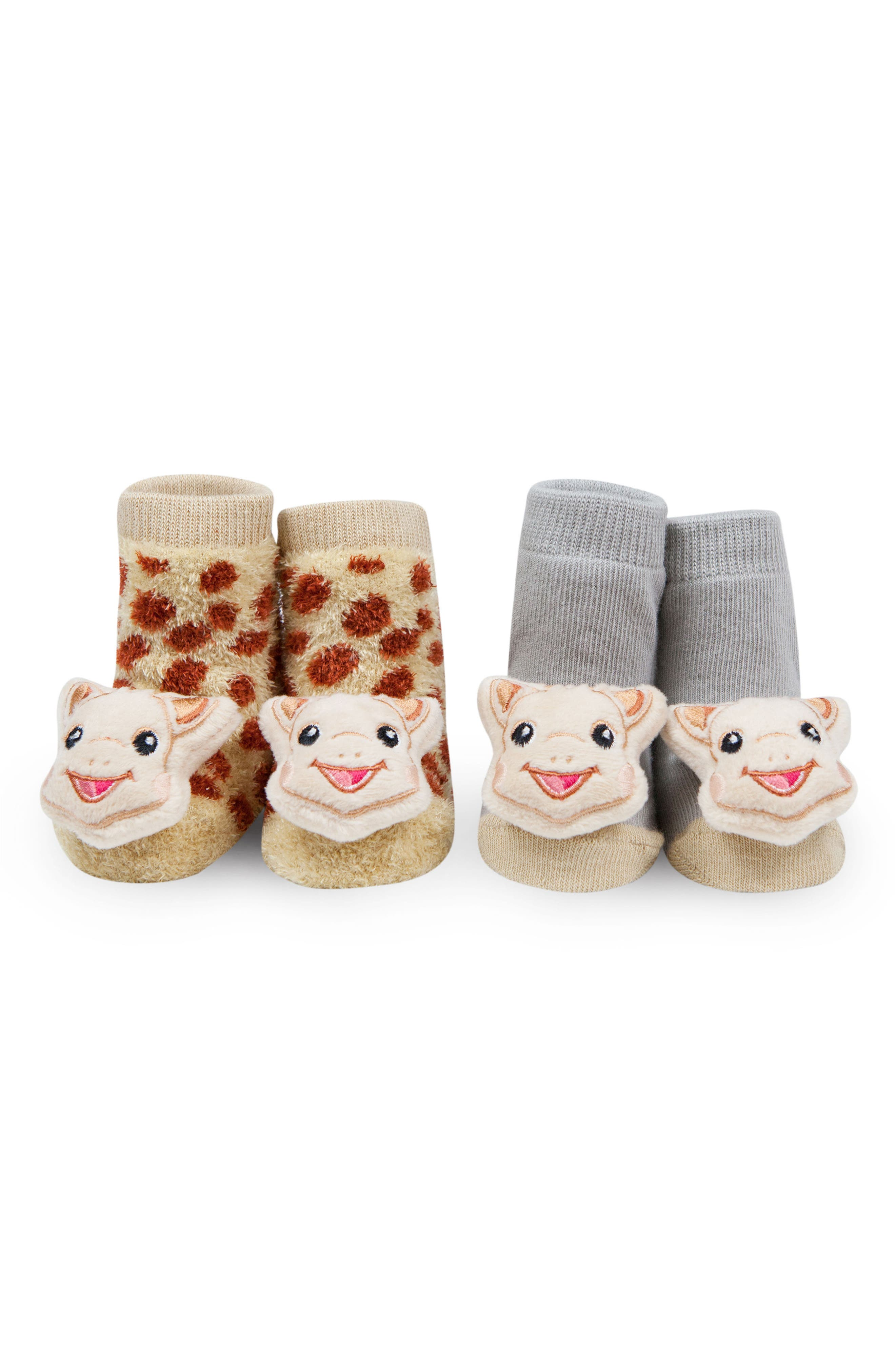 WADDLE,                             x Sophie la Girafe 2-Pack Rattle Socks,                             Main thumbnail 1, color,                             BROWN/ GREY
