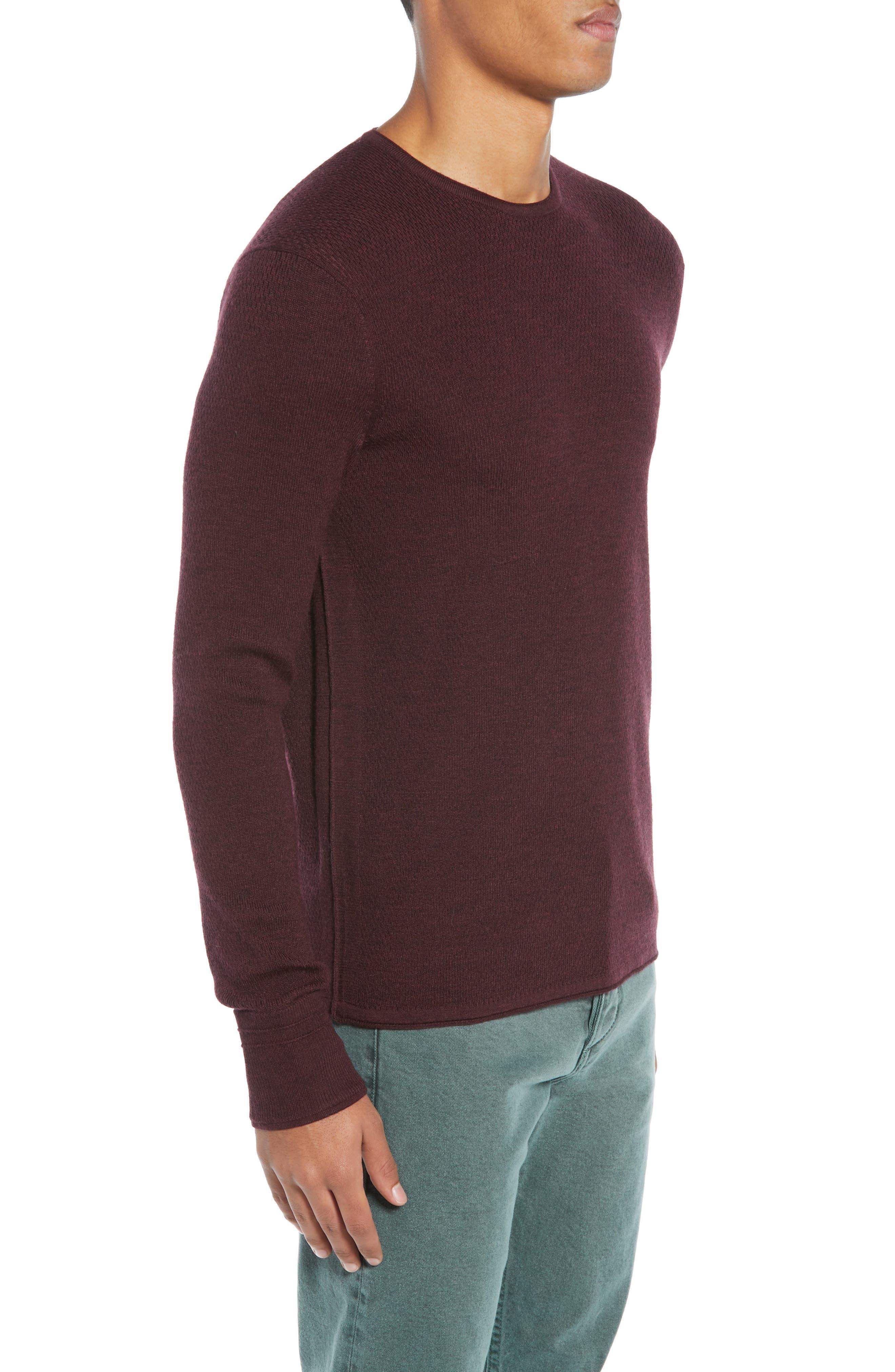 Gregory Merino Wool Blend Crewneck Sweater,                             Alternate thumbnail 3, color,                             BURGUNDY