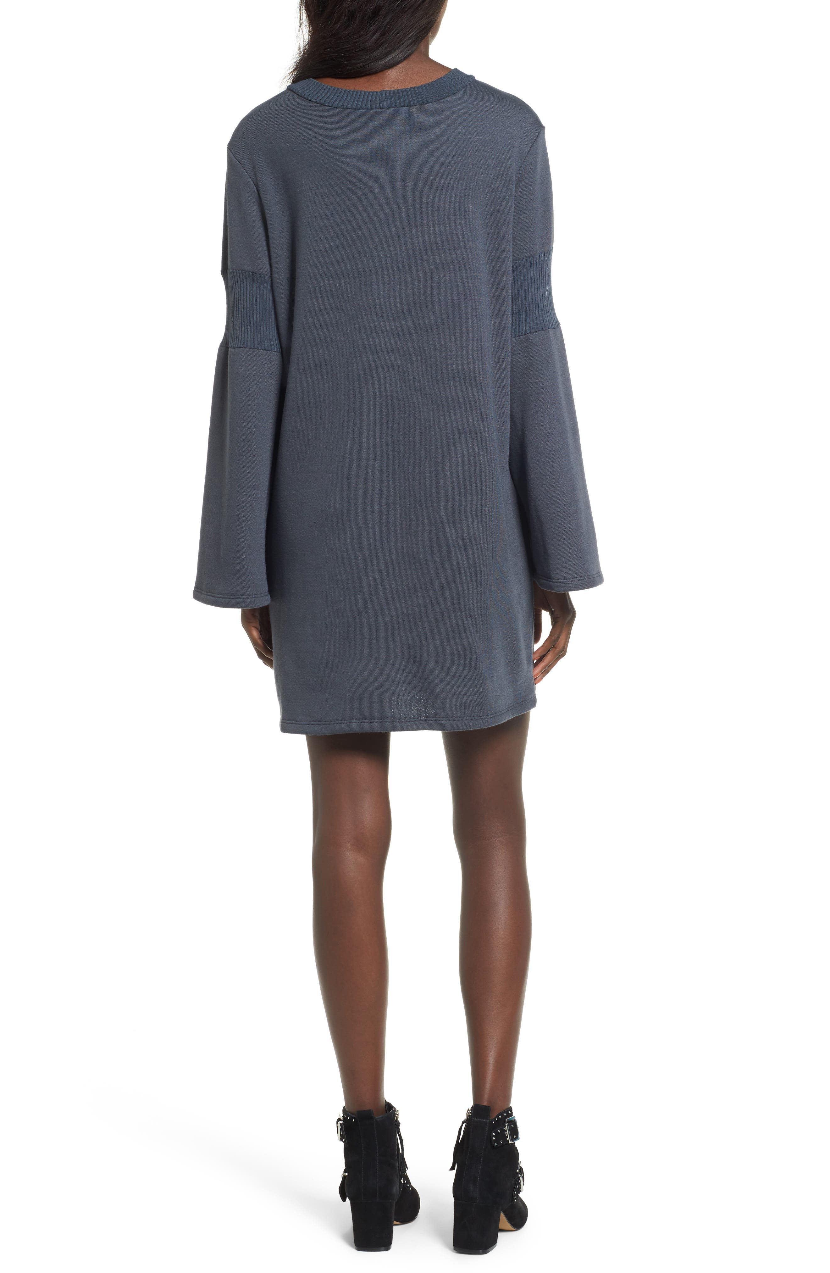 Bell Sleeve Sweatshirt Dress,                             Alternate thumbnail 2, color,                             020