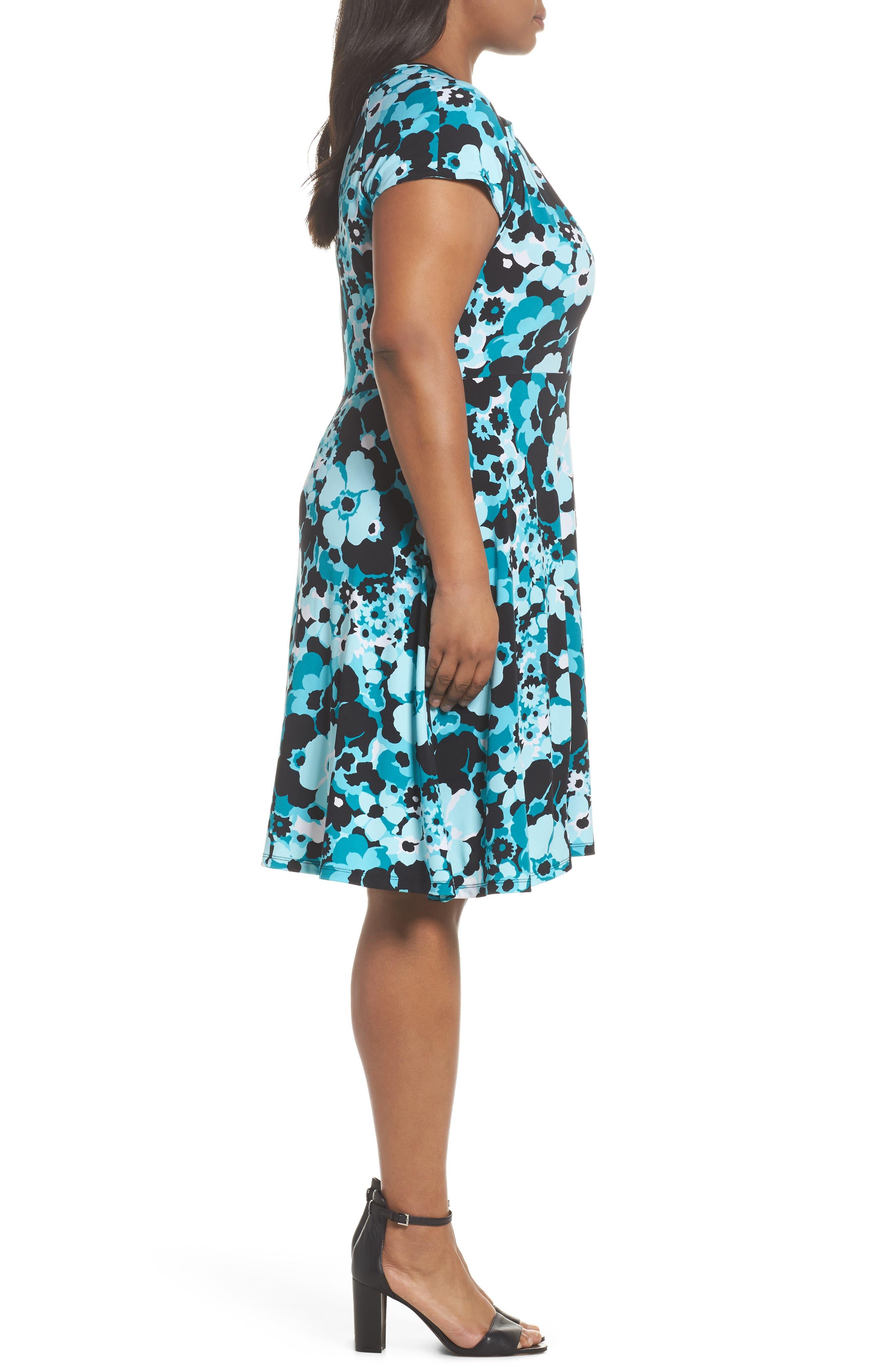 Springtime Floral Cutout Dress,                             Alternate thumbnail 3, color,                             494
