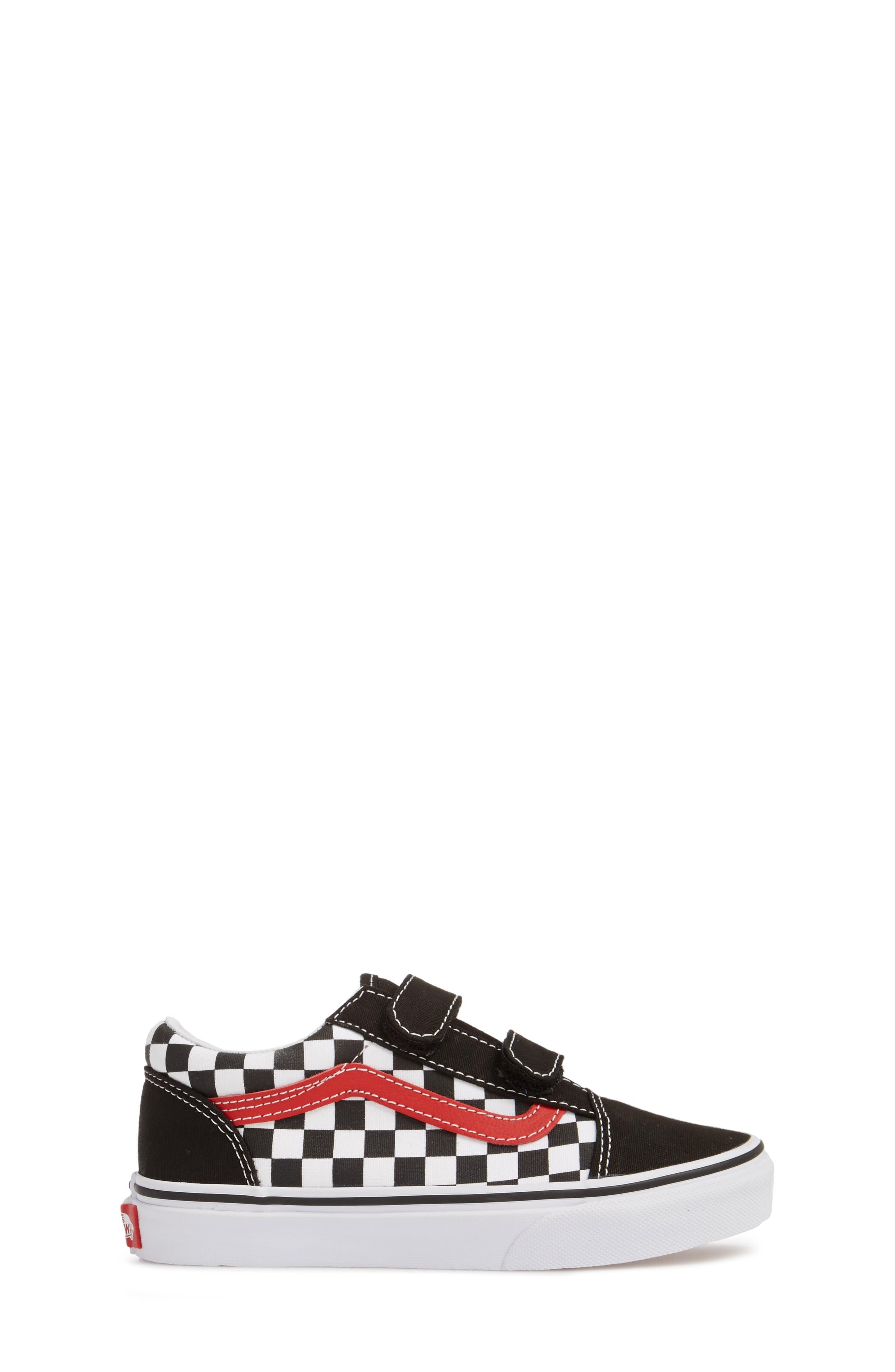 Old Skool V Sneaker,                             Alternate thumbnail 3, color,                             CHECKERBOARD BLACK/ RED/ WHITE