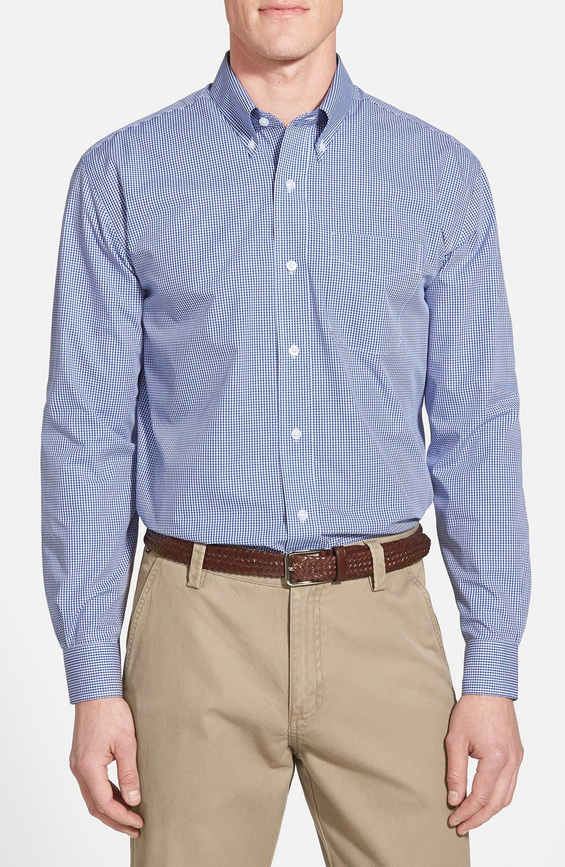 Epic Easy Care Classic Fit Wrinkle Free Gingham Sport Shirt,                         Main,                         color, FRENCH BLUE
