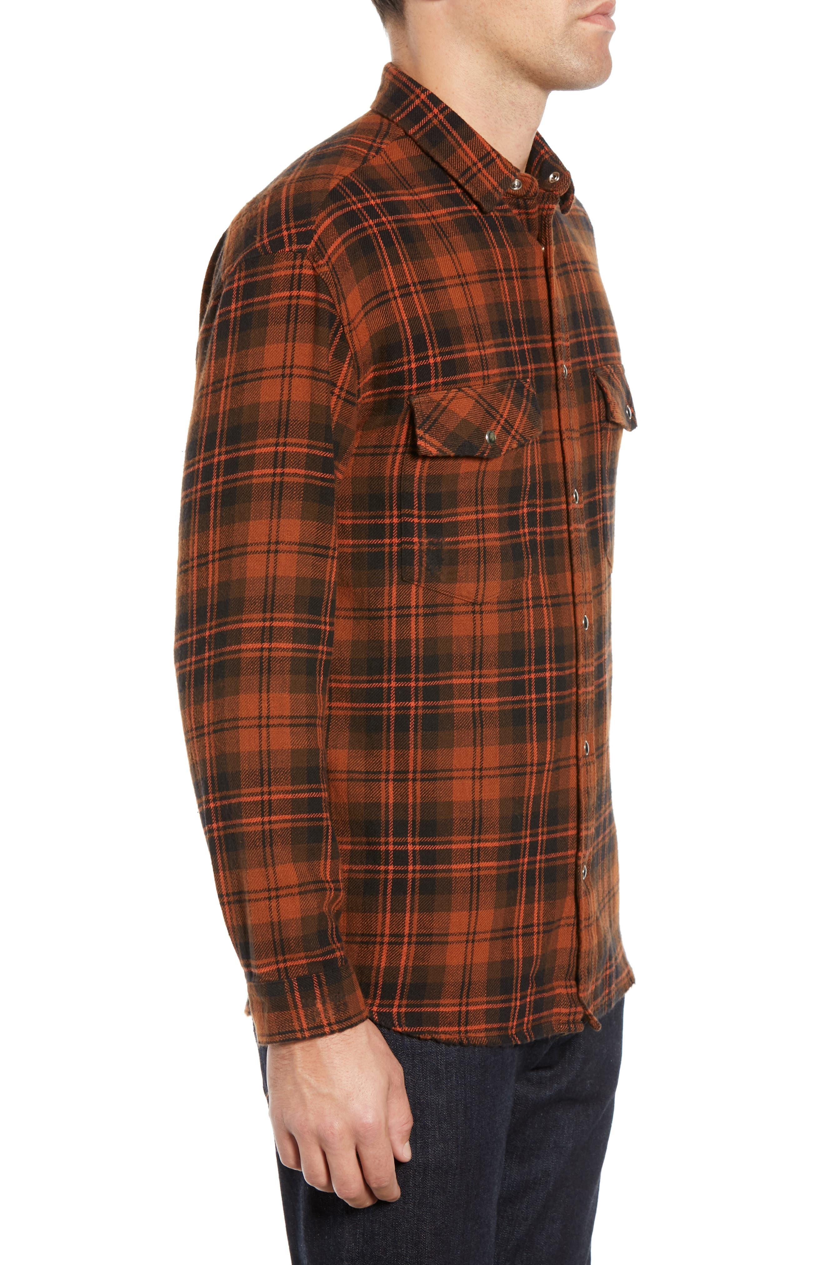 Destroyed Check Flannel Shirt,                             Alternate thumbnail 4, color,                             001