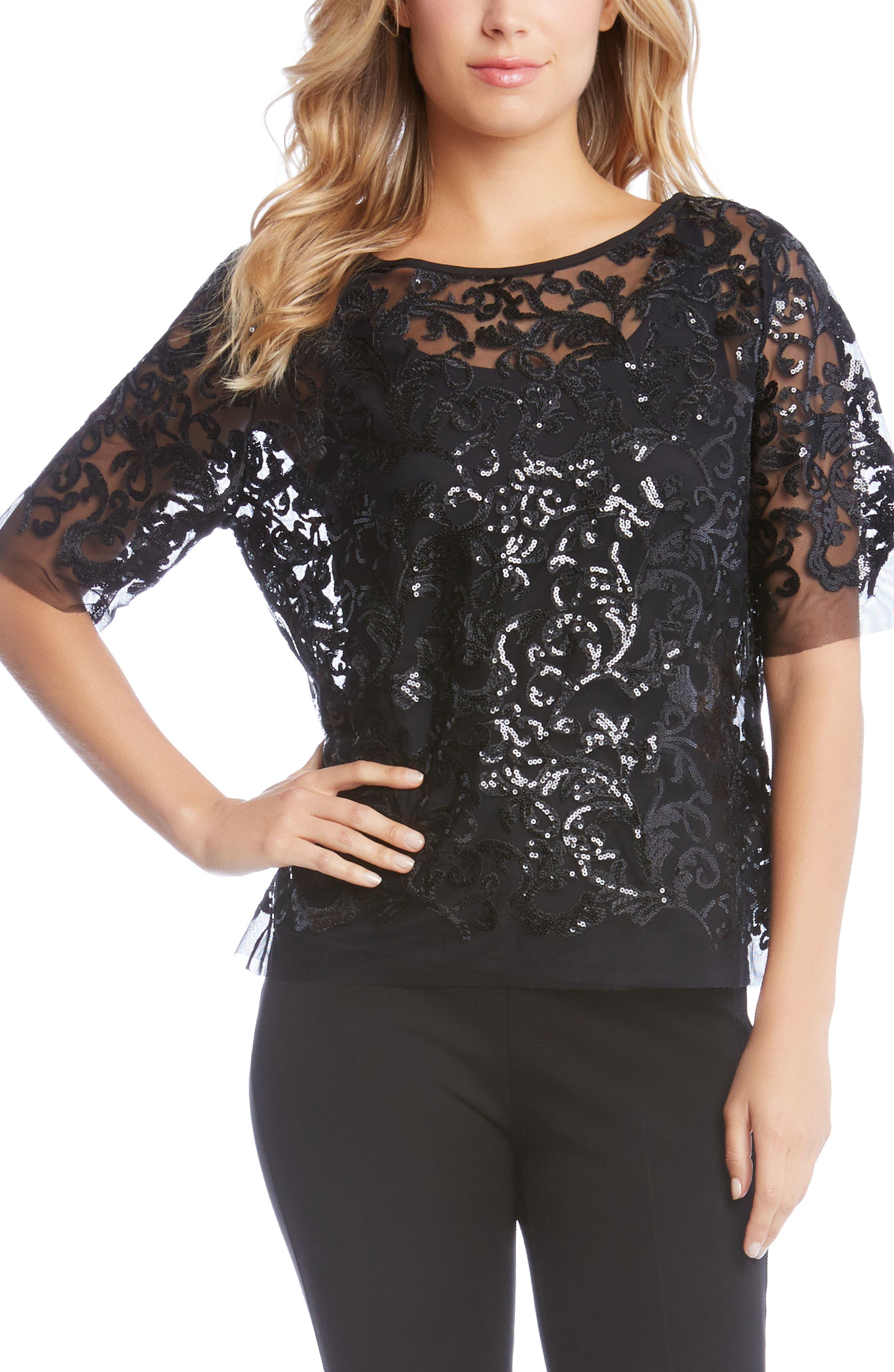 Sequin Lace Mesh Top,                         Main,                         color, 001