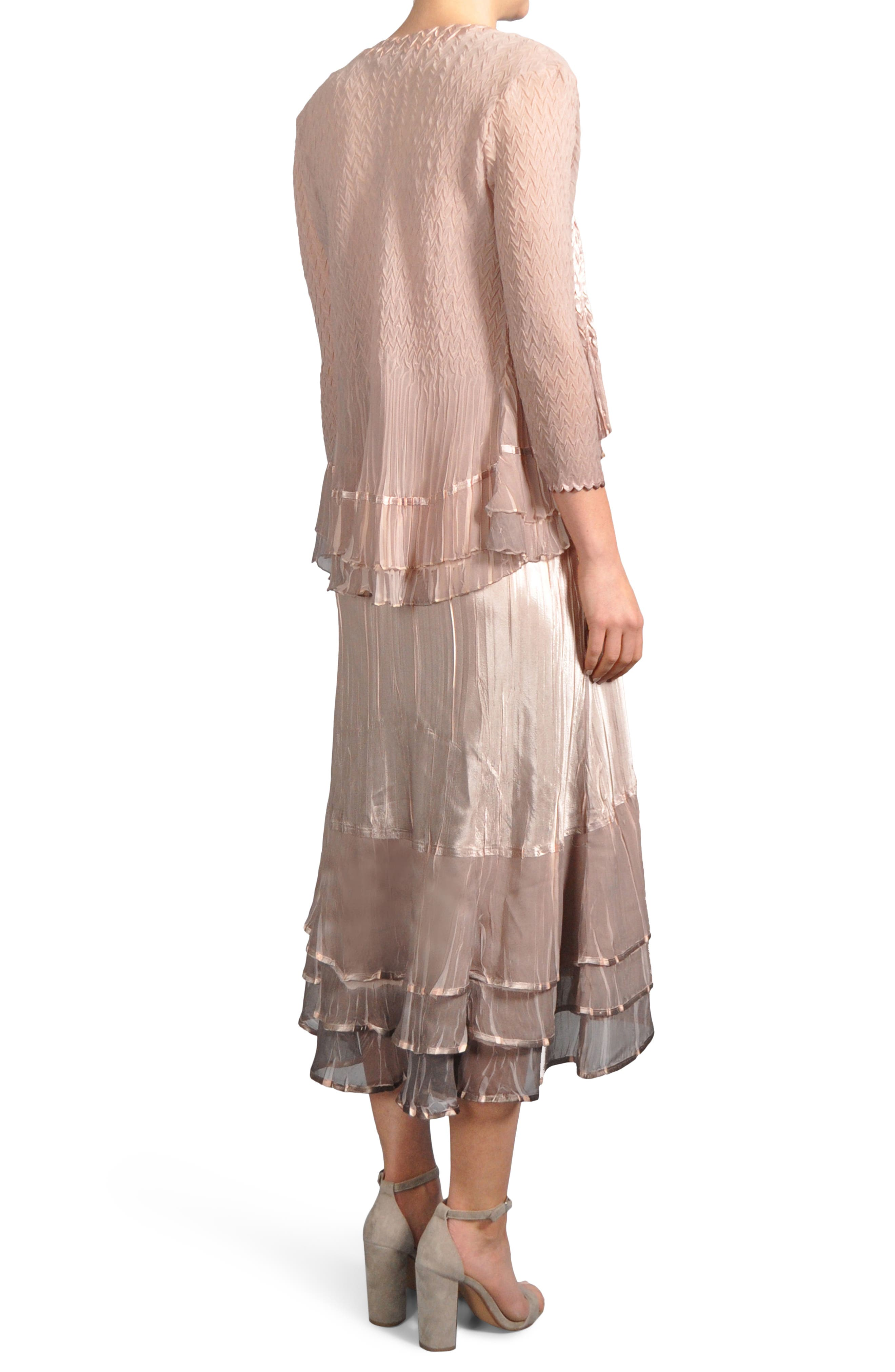 Ruffle Hem Midi Dress with Jacket,                             Alternate thumbnail 2, color,                             233