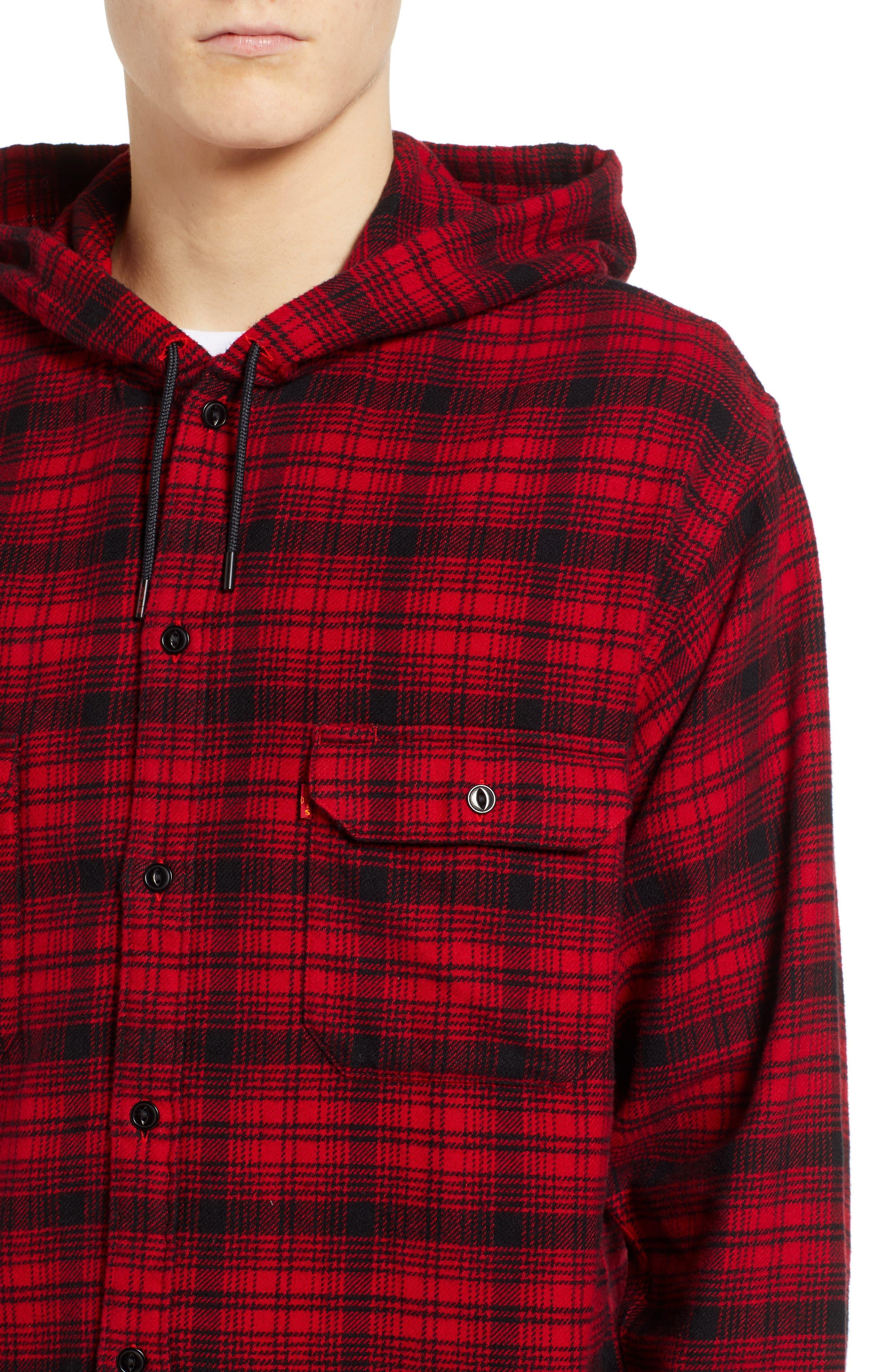 x Justin Timberlake Hooded Flannel Worker Shirt,                             Alternate thumbnail 5, color,                             SERVAL CRIMSON