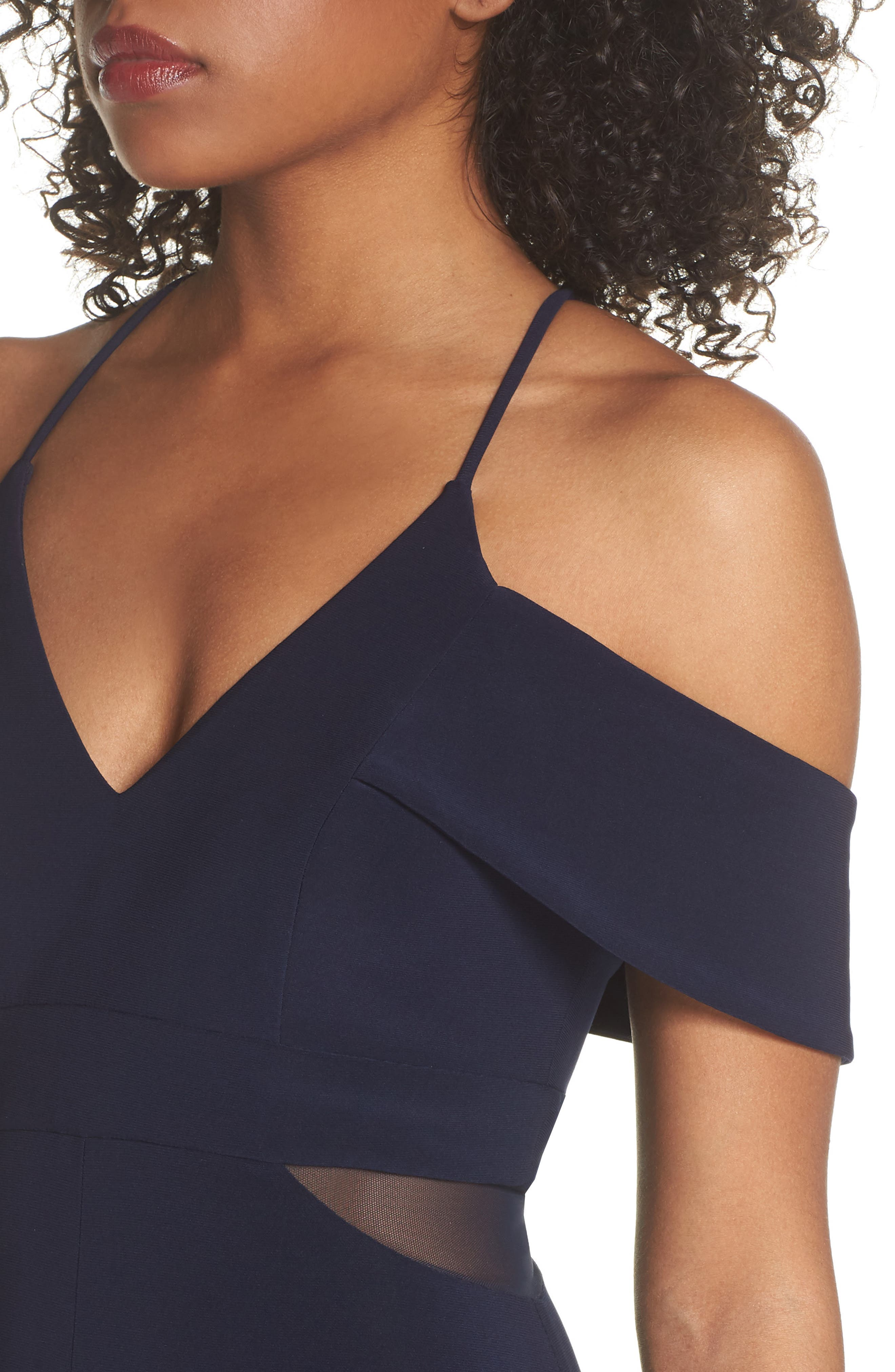 Cold Shoulder Gown,                             Alternate thumbnail 4, color,                             NAVY