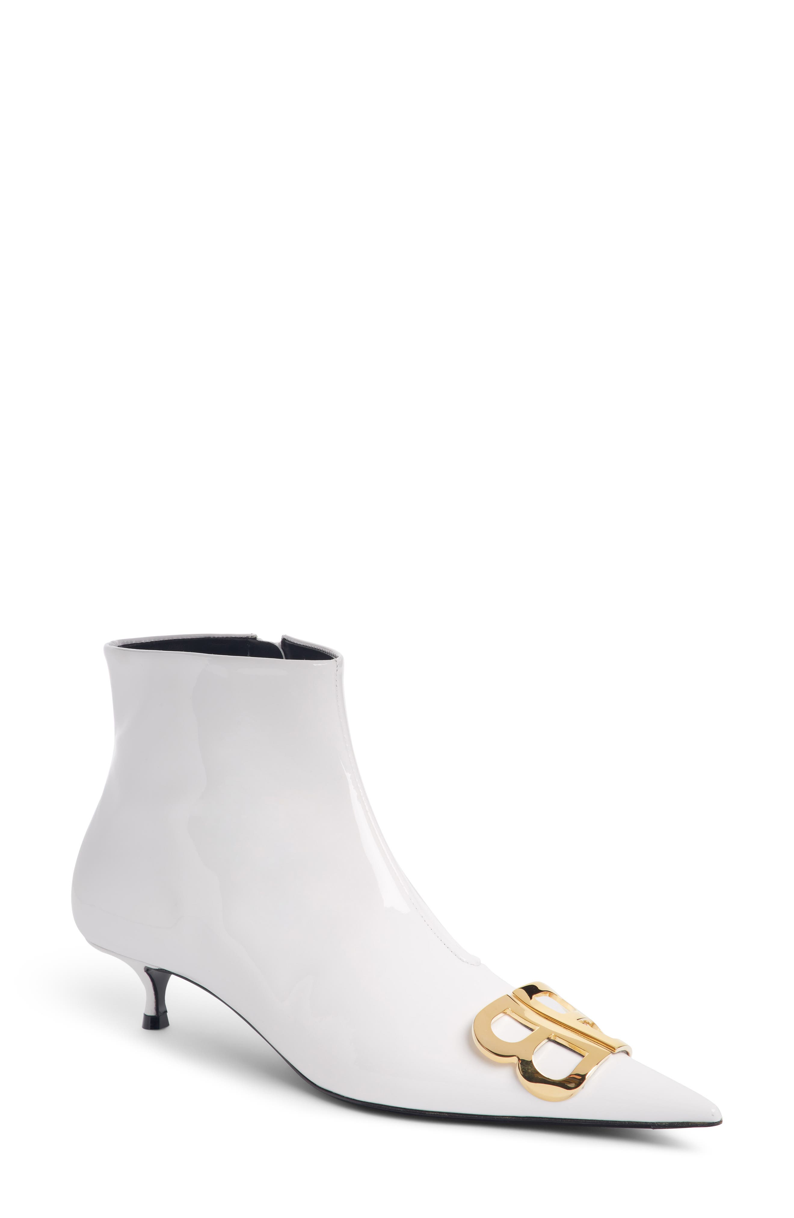 Knife Logo-Embellished Patent-Leather Ankle Boots in White
