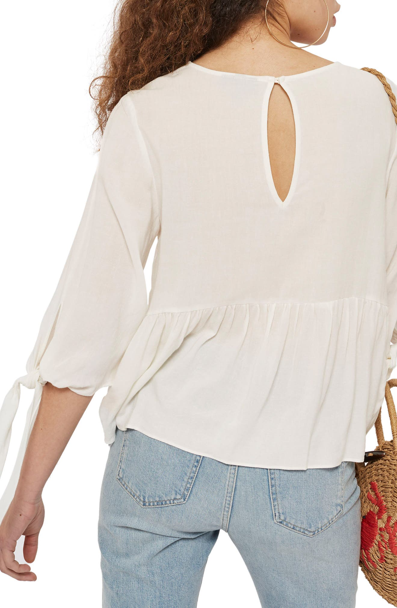 Millie Tie Sleeve Peplum Top,                             Alternate thumbnail 2, color,                             900