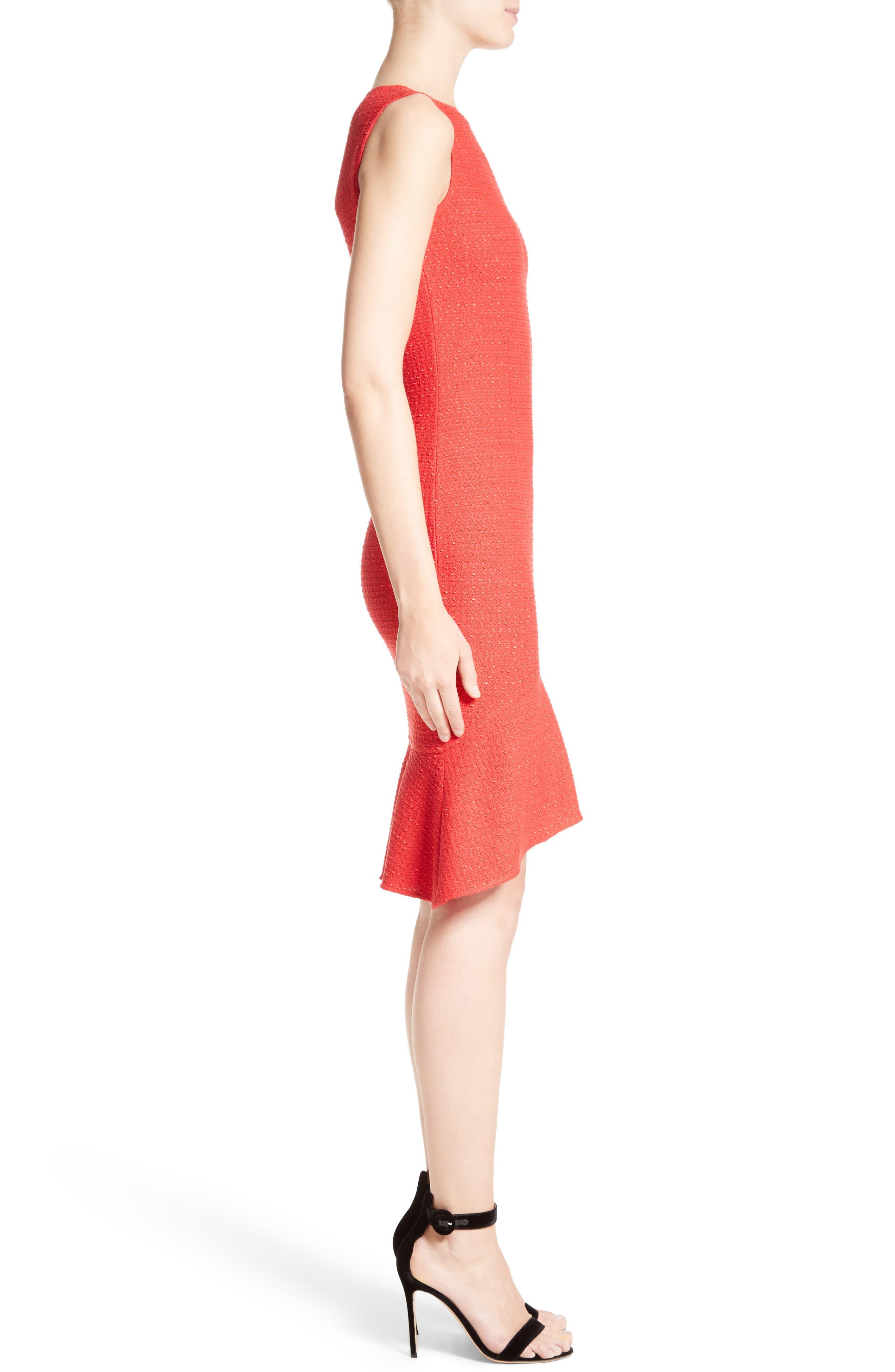 Ribbon Knit Flounce Dress,                             Alternate thumbnail 3, color,                             610