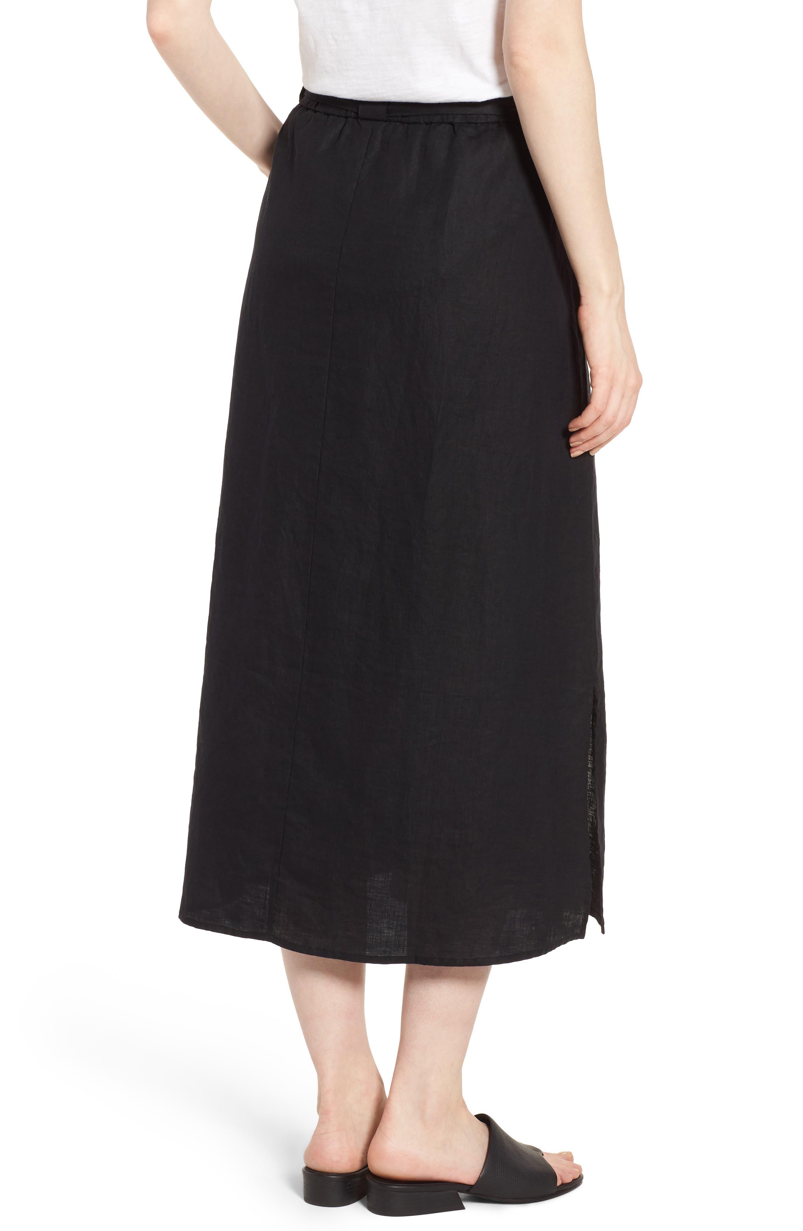 Faux Wrap Organic Linen Skirt,                             Alternate thumbnail 2, color,                             001