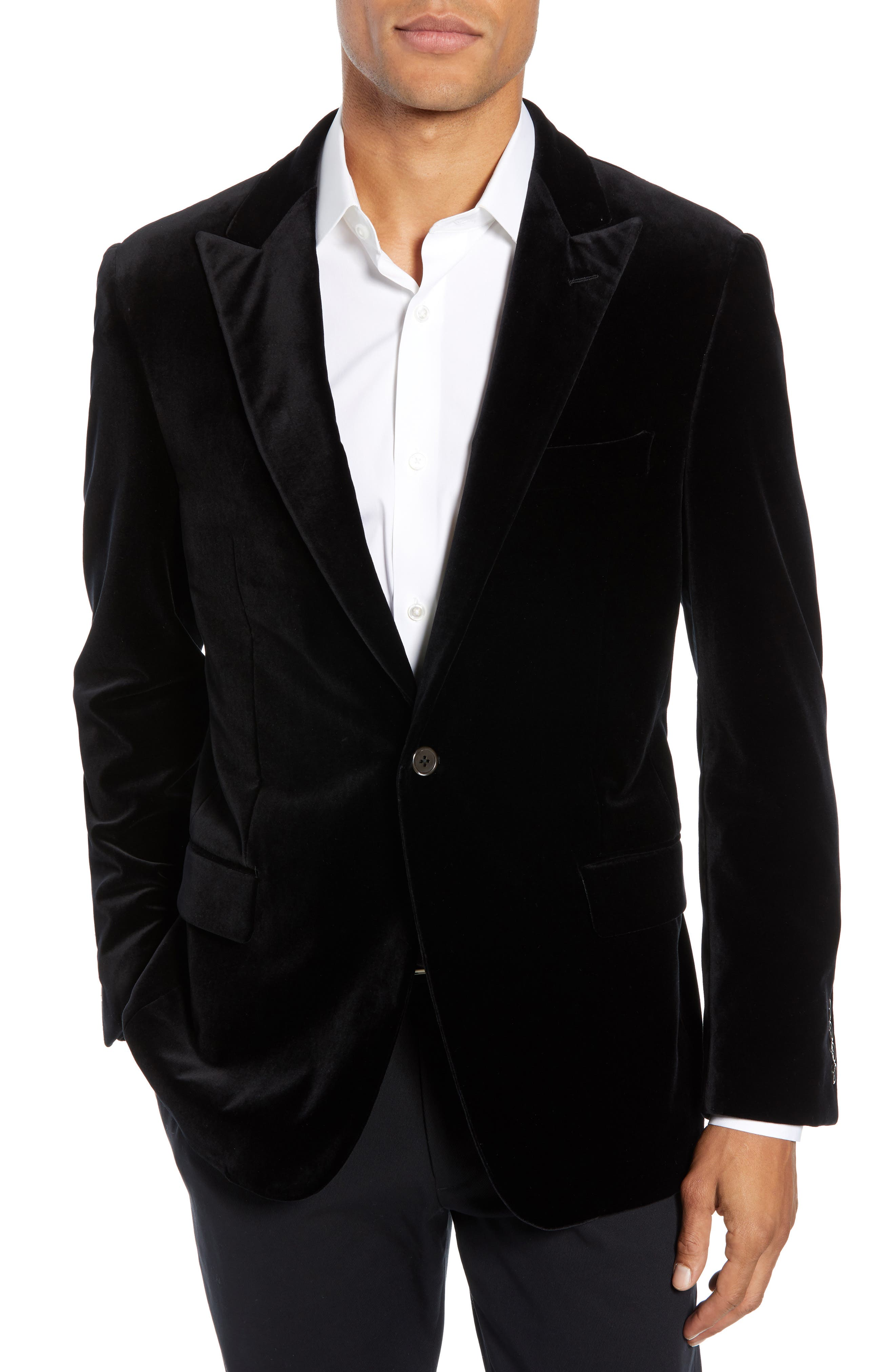 HICKEY FREEMAN Classic Fit Stretch Cotton Velvet Dinner Jacket in Black