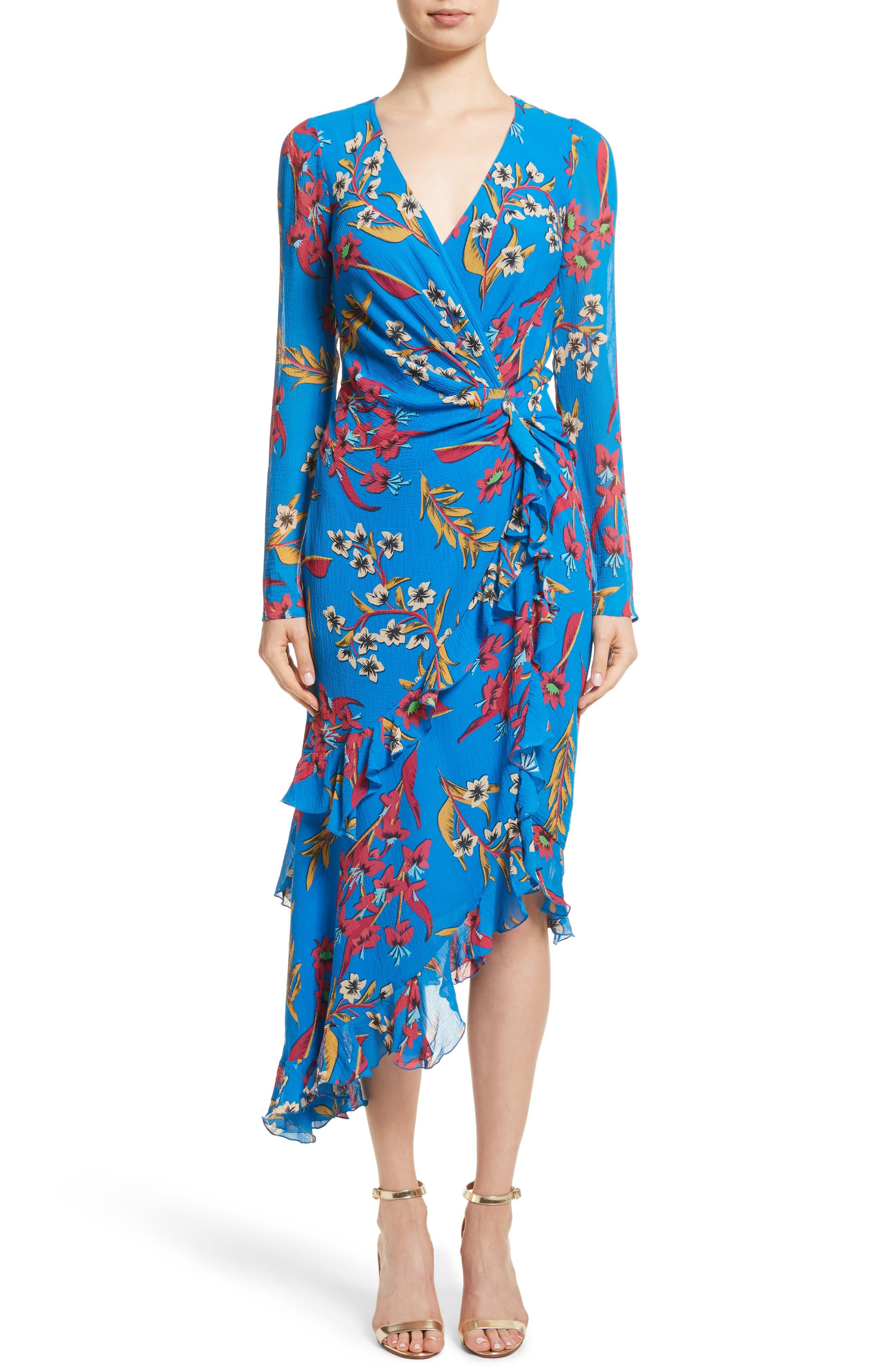 Jungle Floral Print Asymmetrical Ruffle Dress,                         Main,                         color, 410
