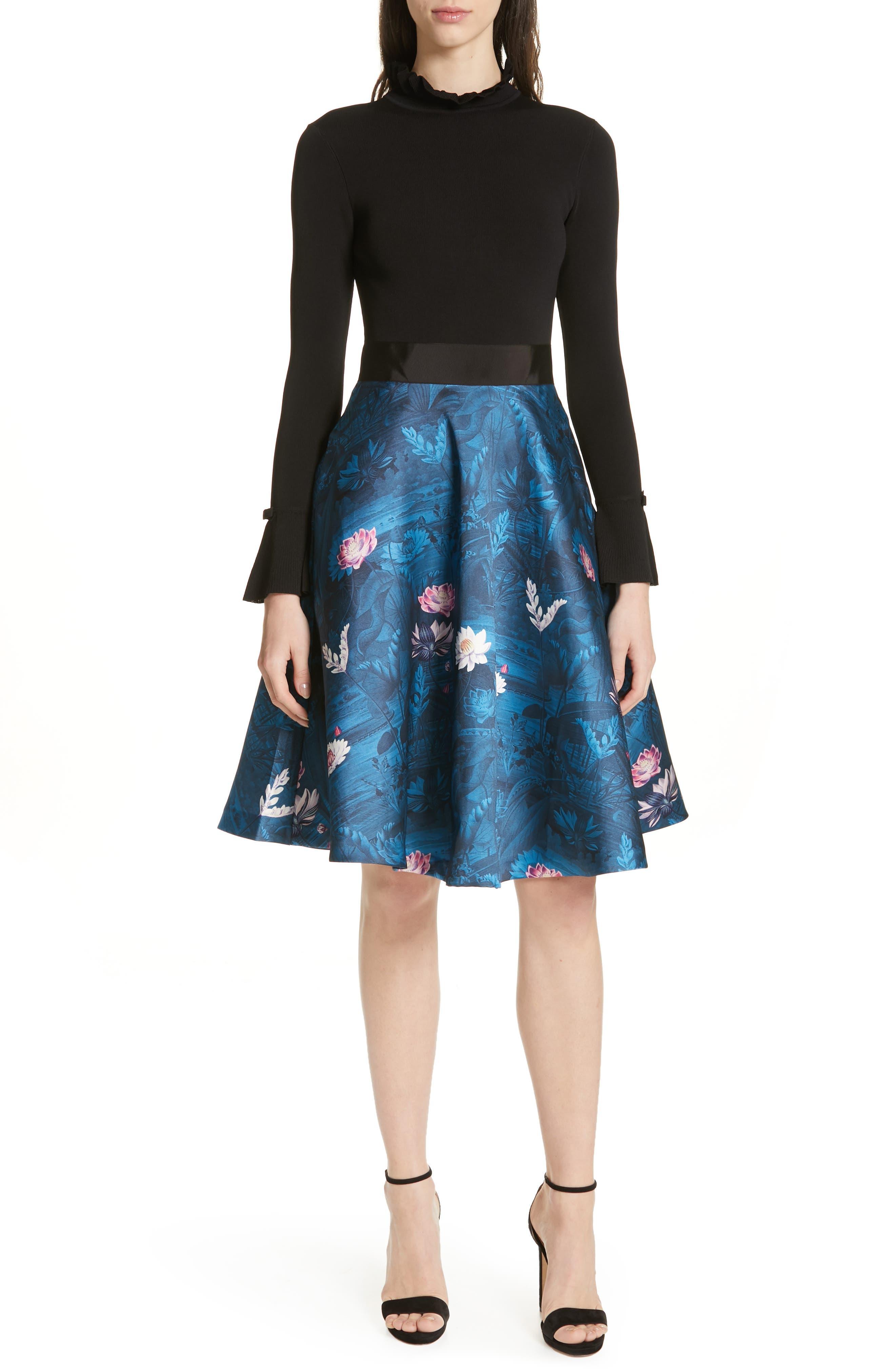 Ted Baker London Kalinaa Wonderland Fit & Flare Dress, Black