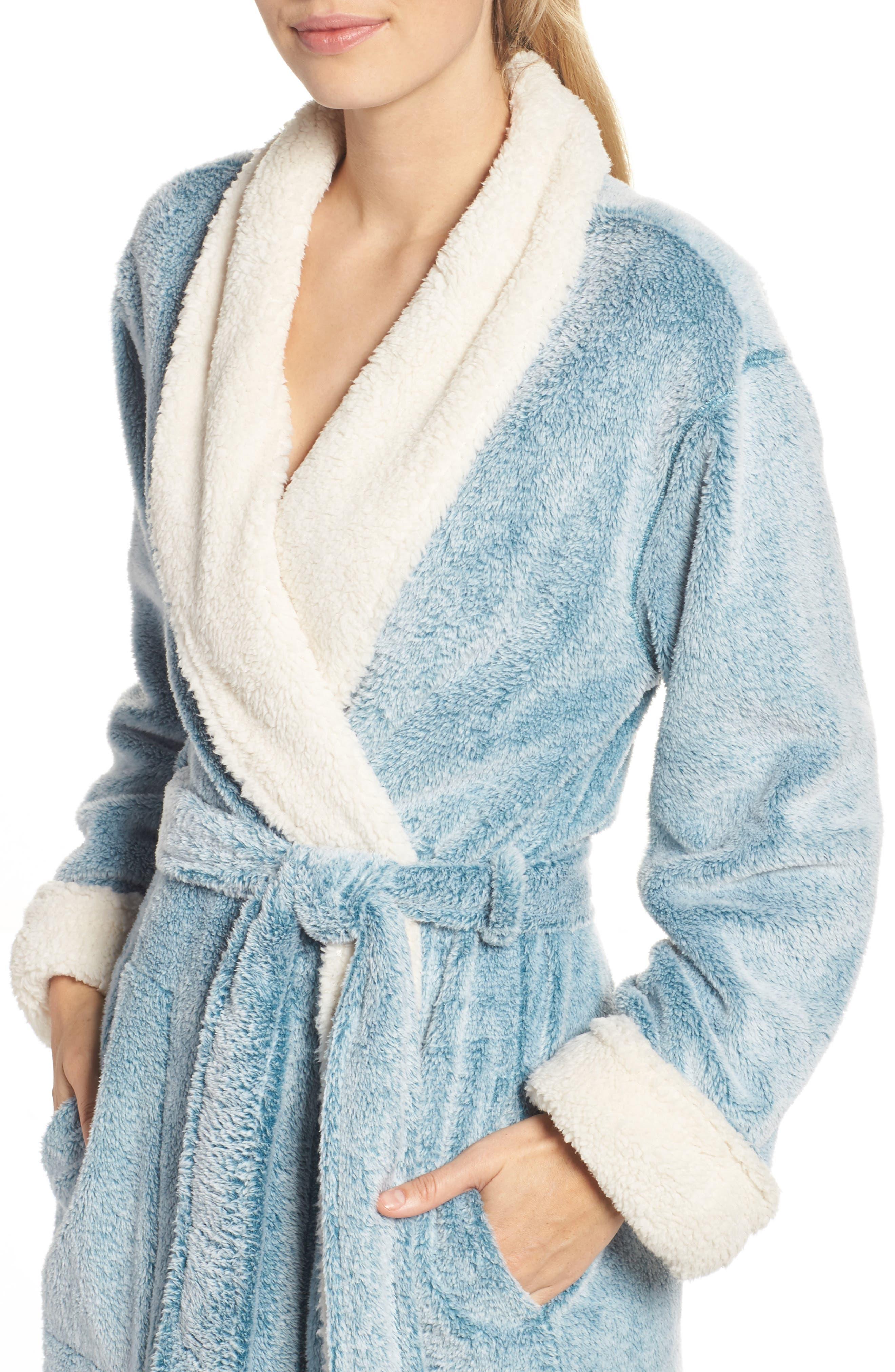 Plush Velour Robe,                             Alternate thumbnail 4, color,                             LIGHT BLUE