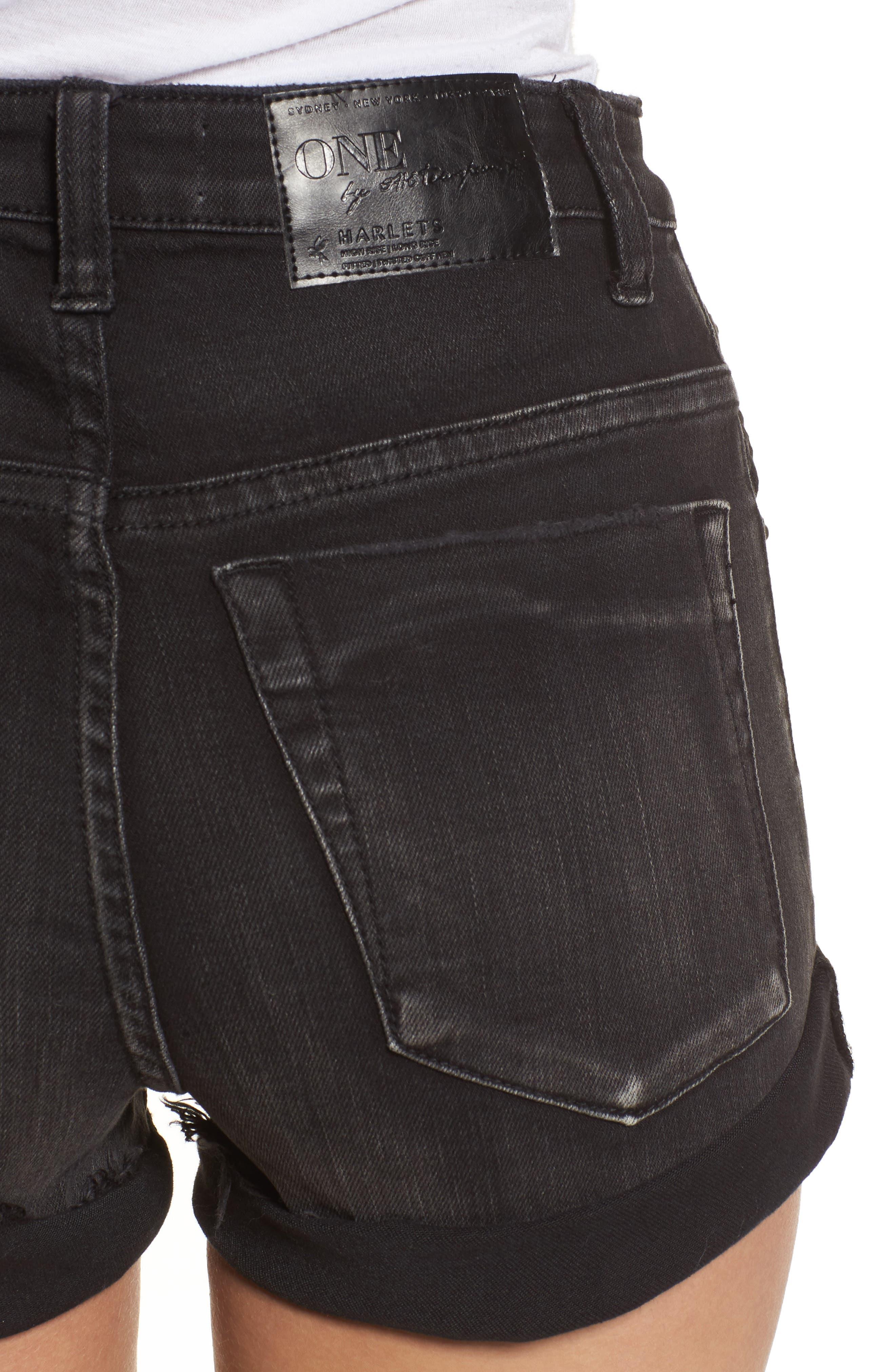 Harlets Cuffed Denim Shorts,                             Alternate thumbnail 4, color,
