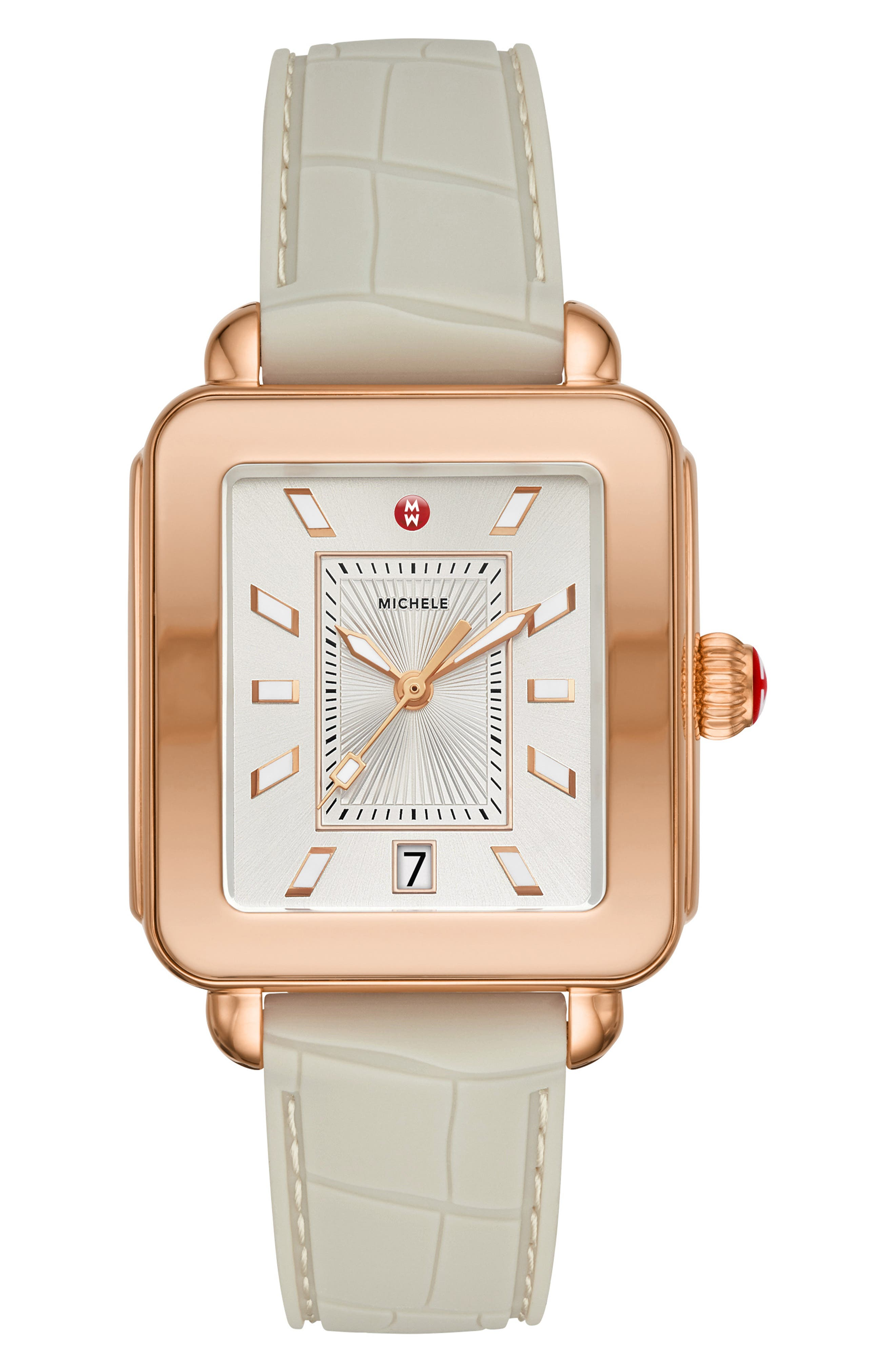 MICHELE Deco Sport Watch Head & Silicone Strap Watch, 34mm x 36mm, Main, color, GREY/ WHITE/ ROSE GOLD