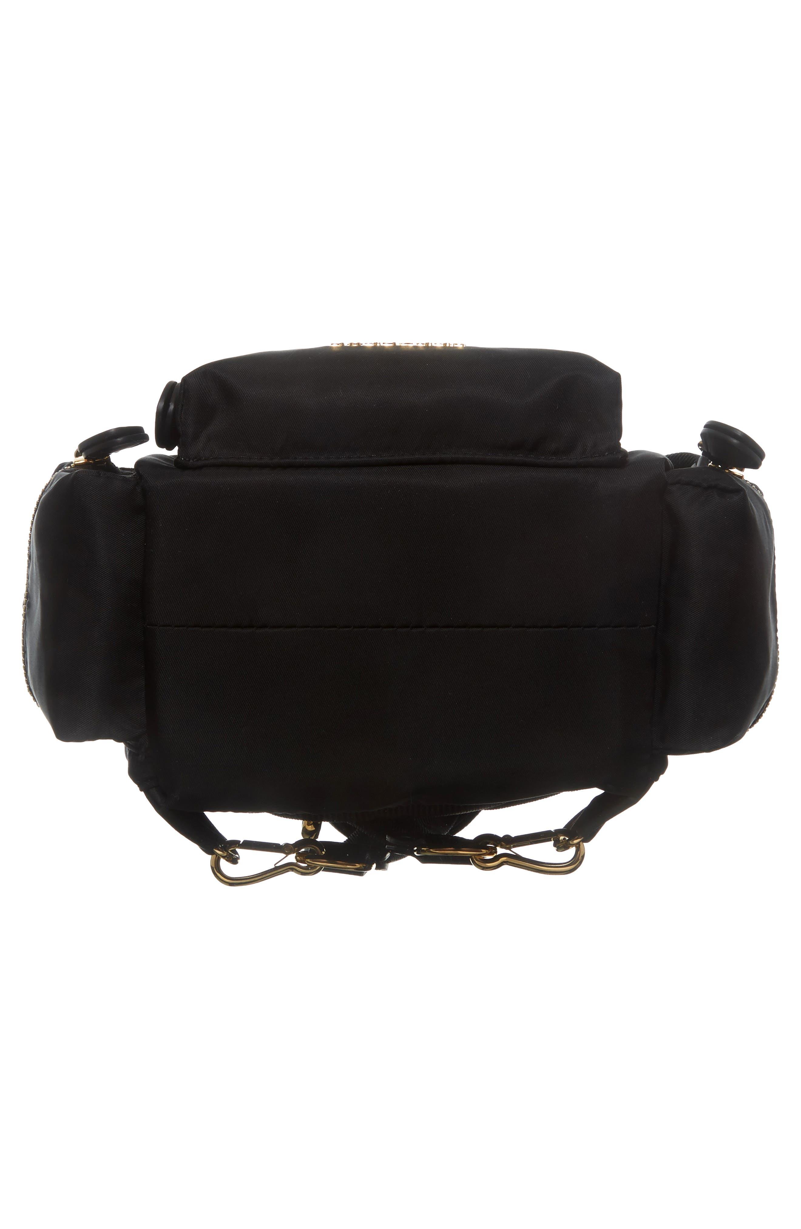 Small Rucksack Nylon Backpack,                             Alternate thumbnail 7, color,                             BLACK