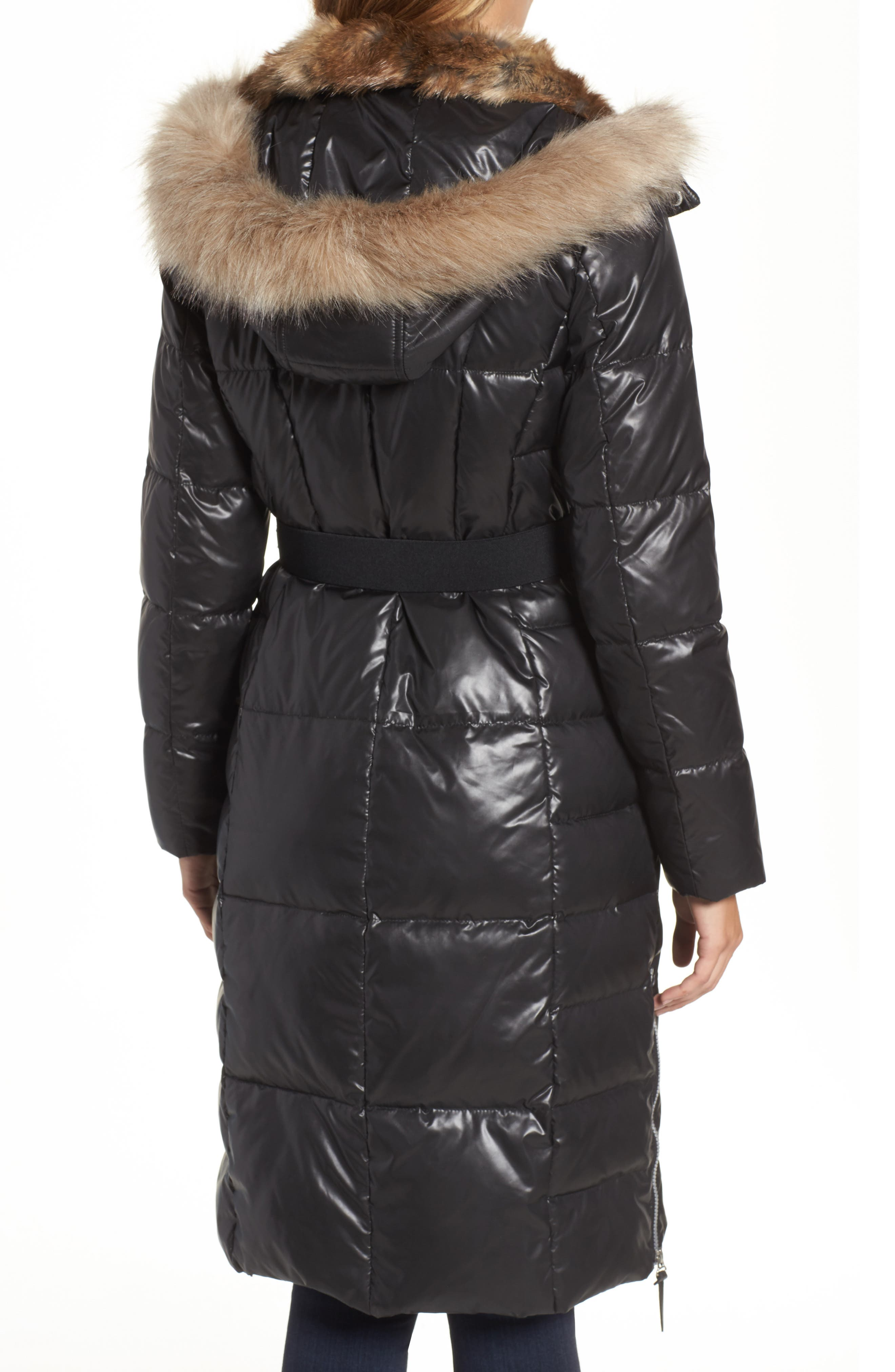 Lacquer Down Puffer Jacket with Faux Fur Hood,                             Alternate thumbnail 2, color,                             001