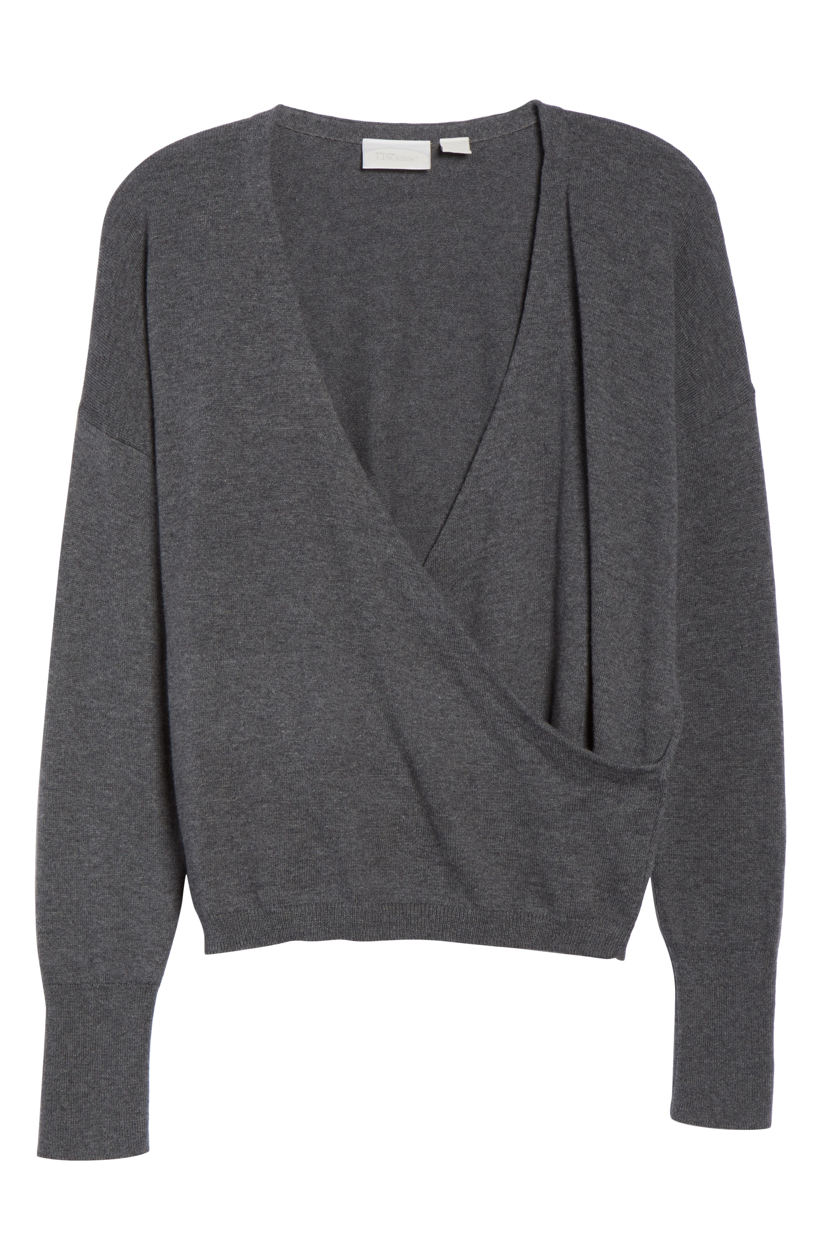 Surplice Front Sweater,                             Alternate thumbnail 6, color,                             DARK STEEL HEATHER