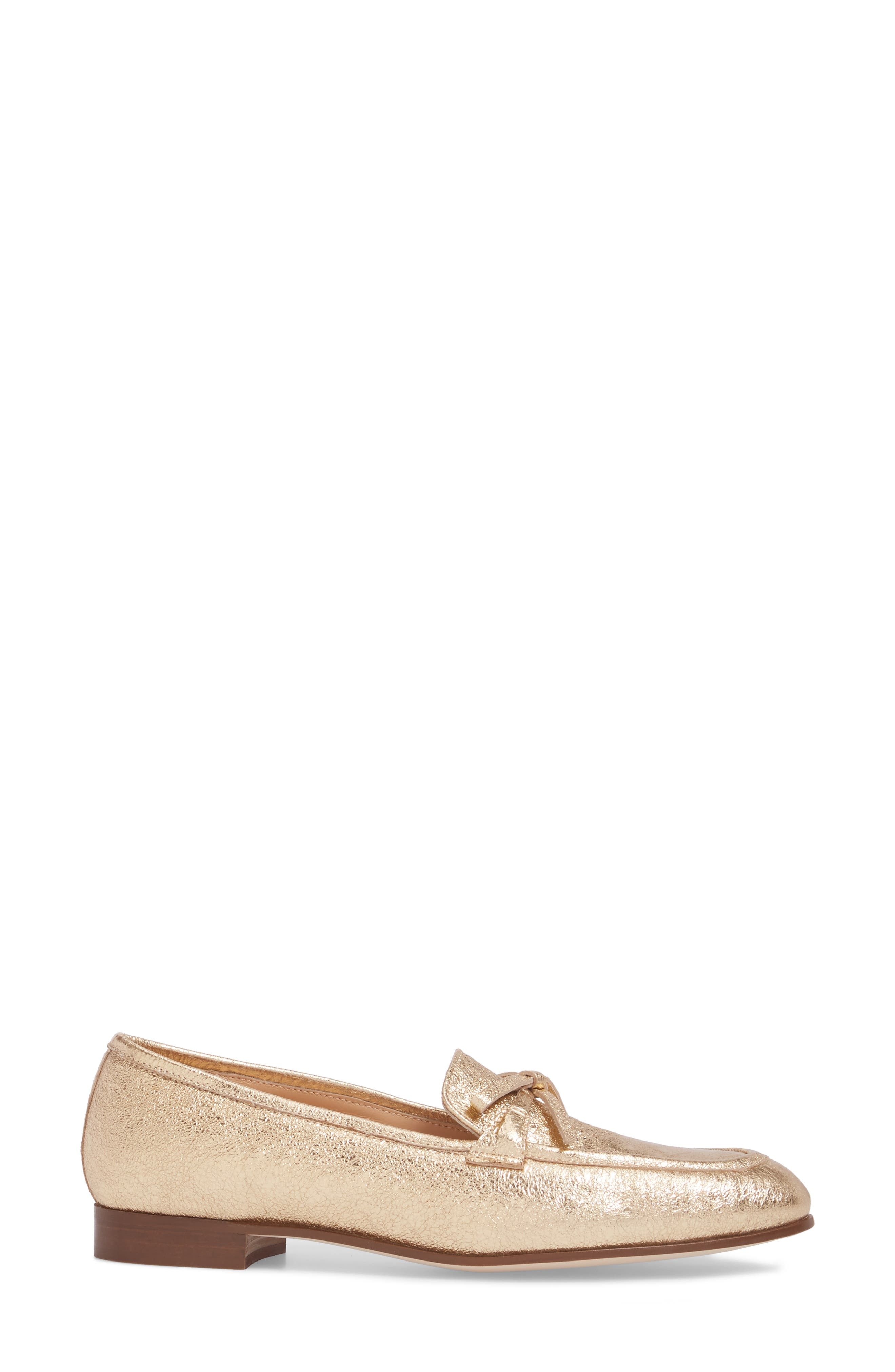 J. Crew Metallic Bow Loafer,                             Alternate thumbnail 3, color,                             710
