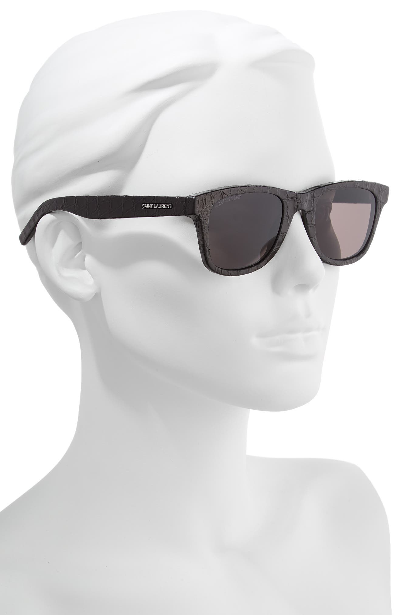 50mm Leather Wrapped Flat Top Sunglasses,                             Alternate thumbnail 2, color,                             BLACK CROCO/ GREY