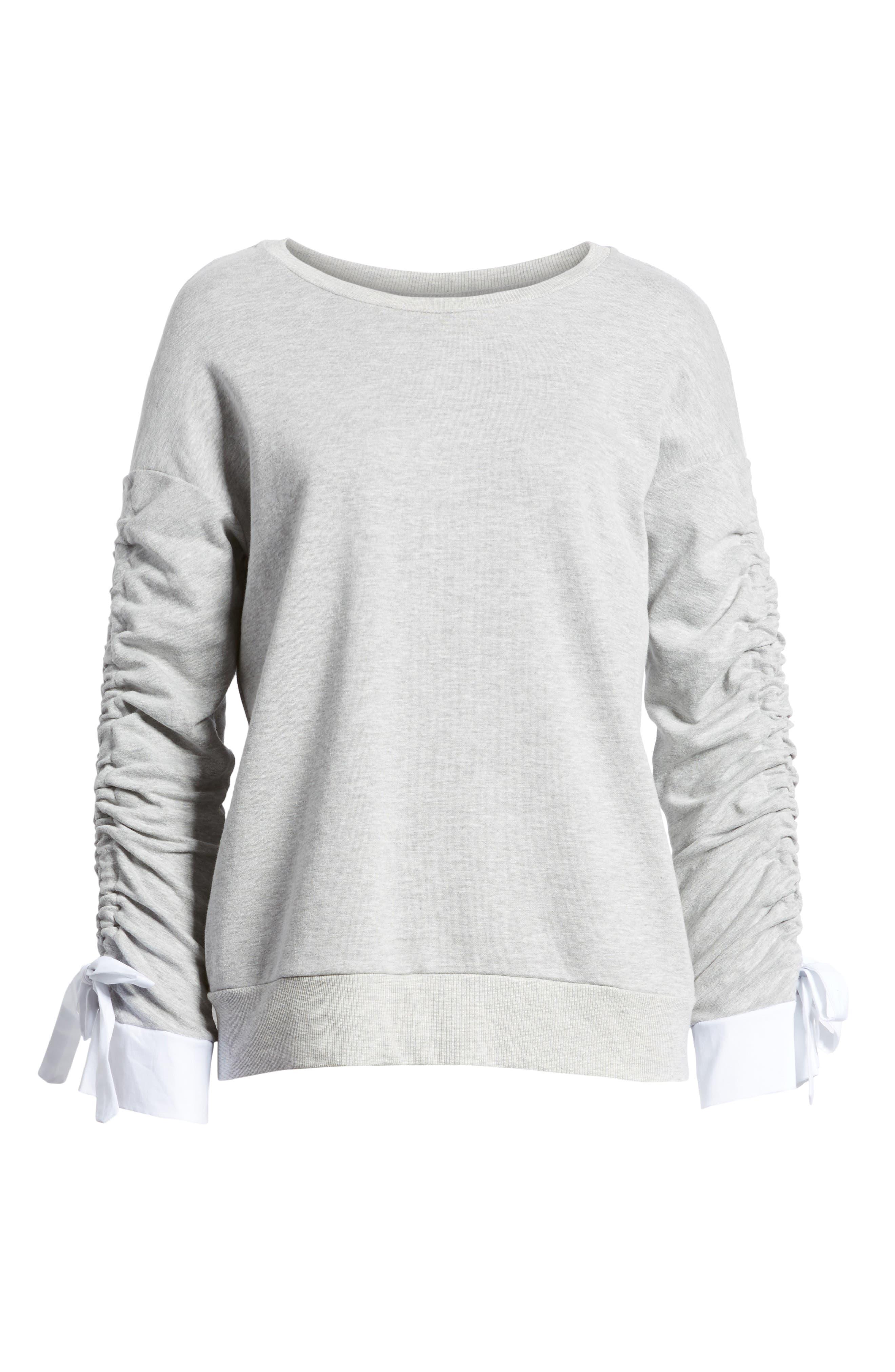 Ruched Sleeve Poplin Trim Sweatshirt,                             Alternate thumbnail 22, color,