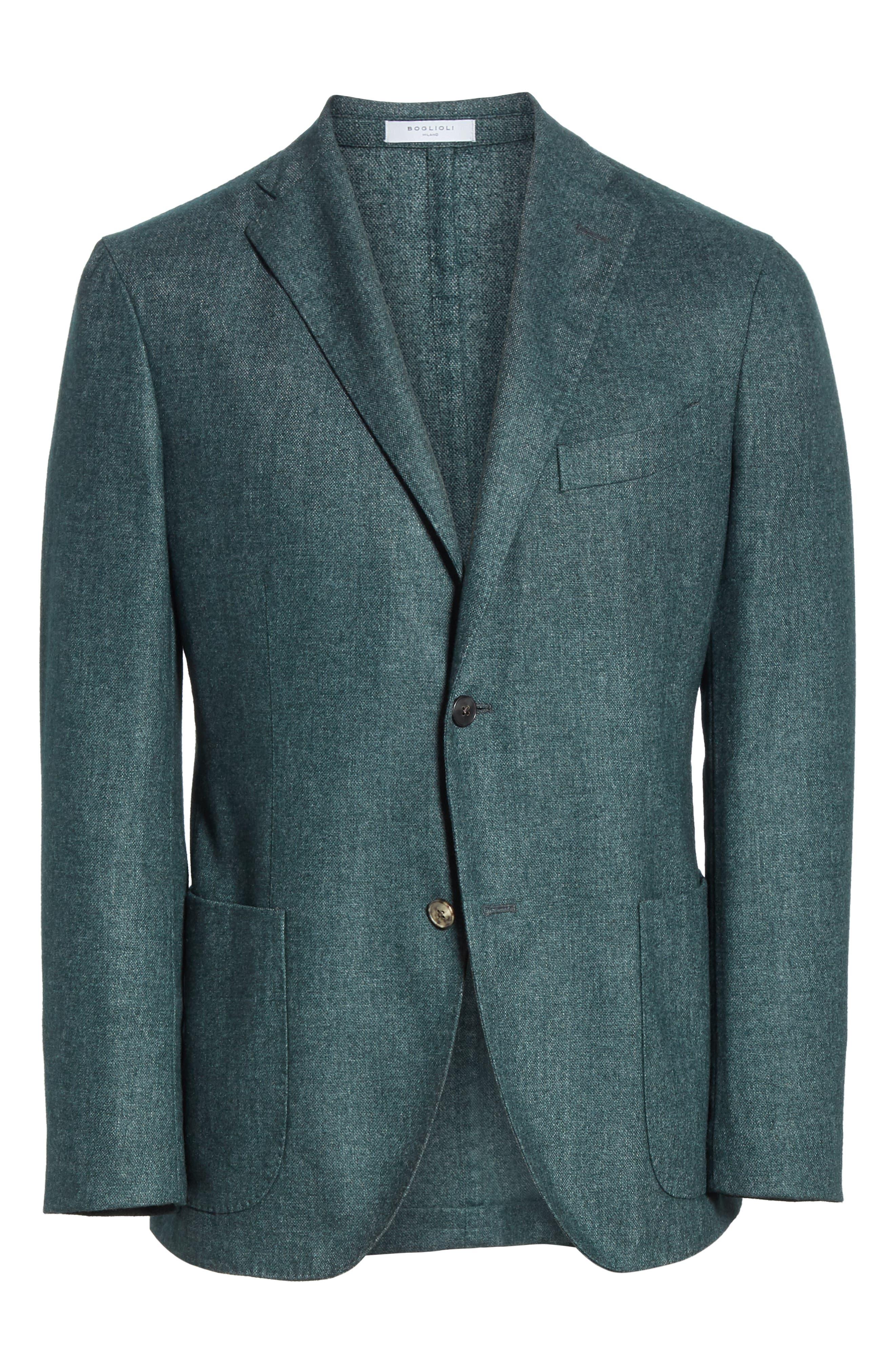 Trim Fit Cashmere Blend Blazer,                             Alternate thumbnail 5, color,                             GREEN