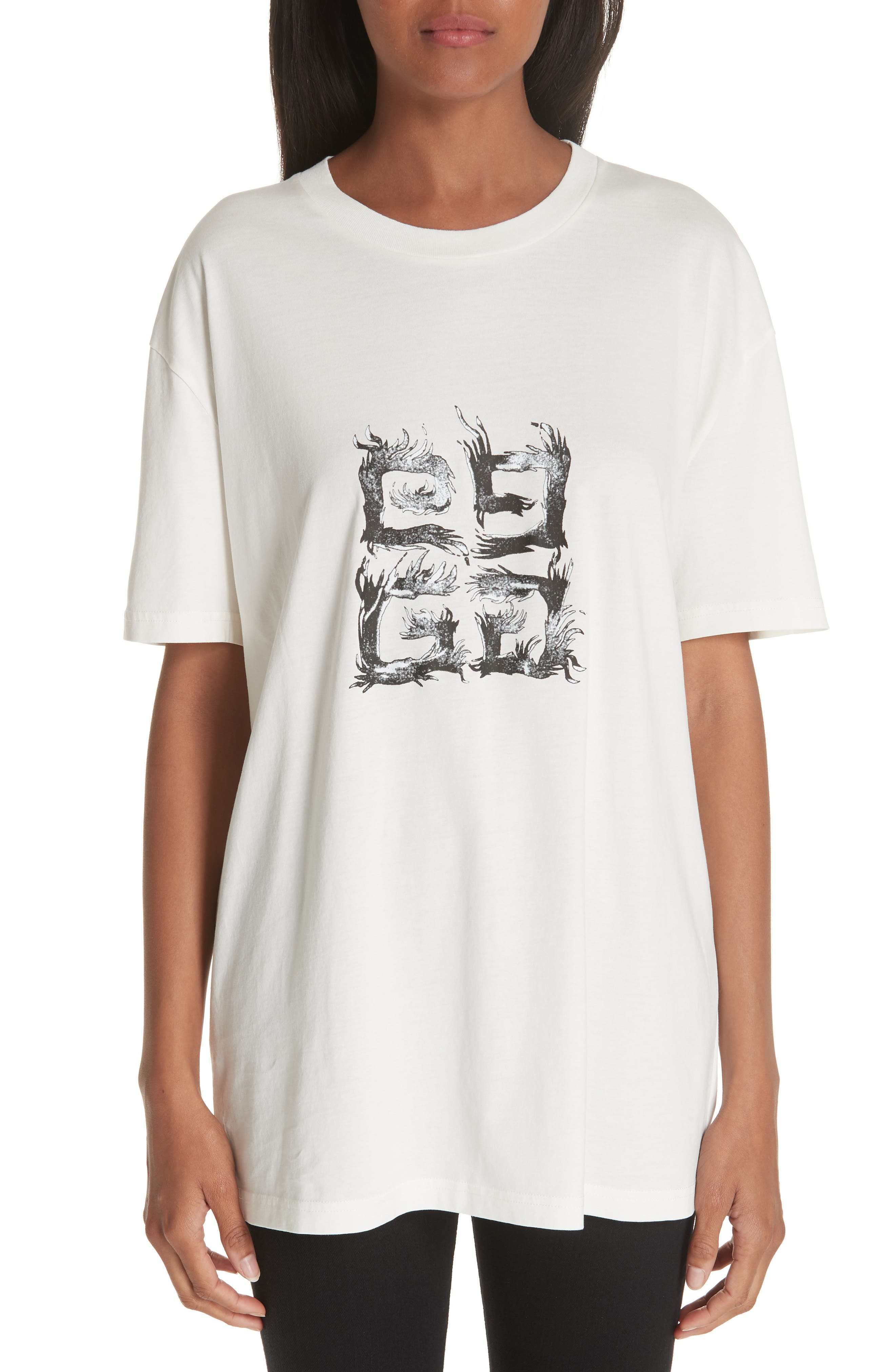 Flame Logo Oversize Tee,                             Main thumbnail 1, color,                             OFF WHITE